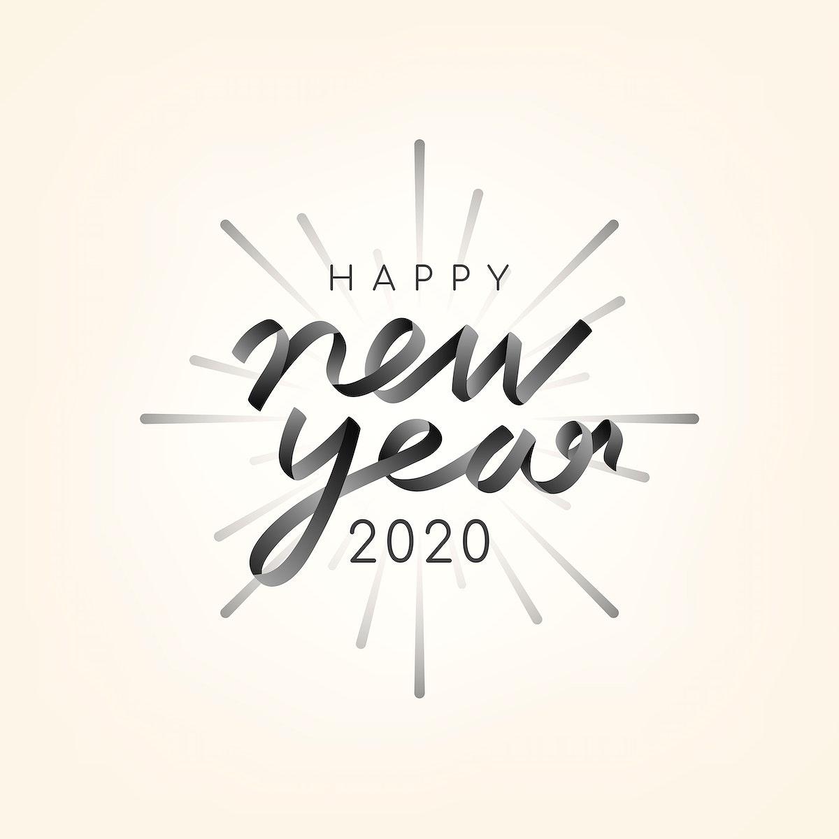 Happy New Year 2020 typography illustration