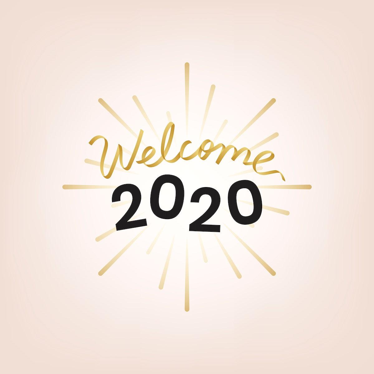 Golden welcome typography 2020 vector
