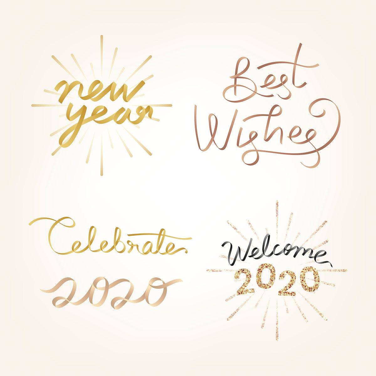 Festive golden new year vector set