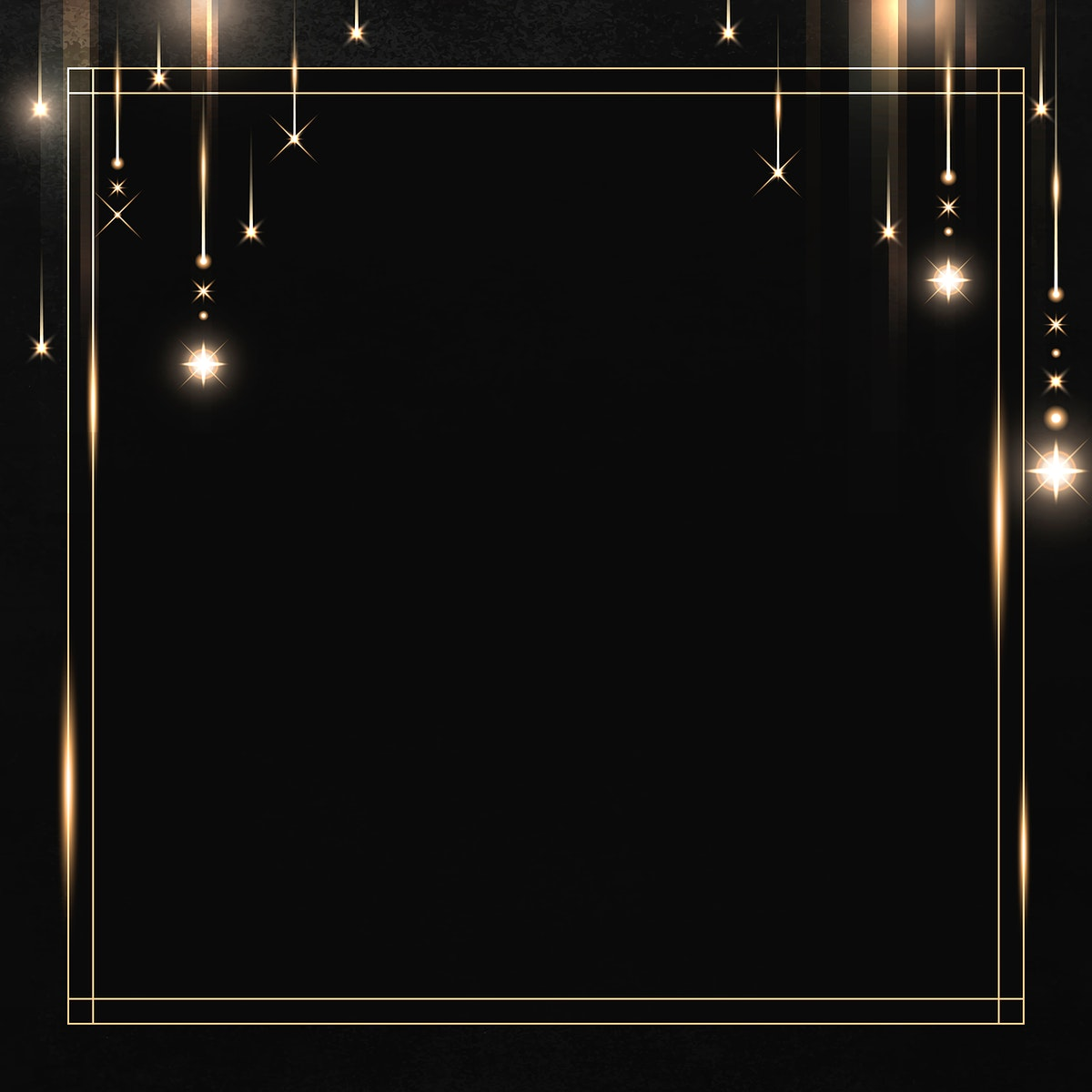 Square gold frame with sparkle patterned on black background vector