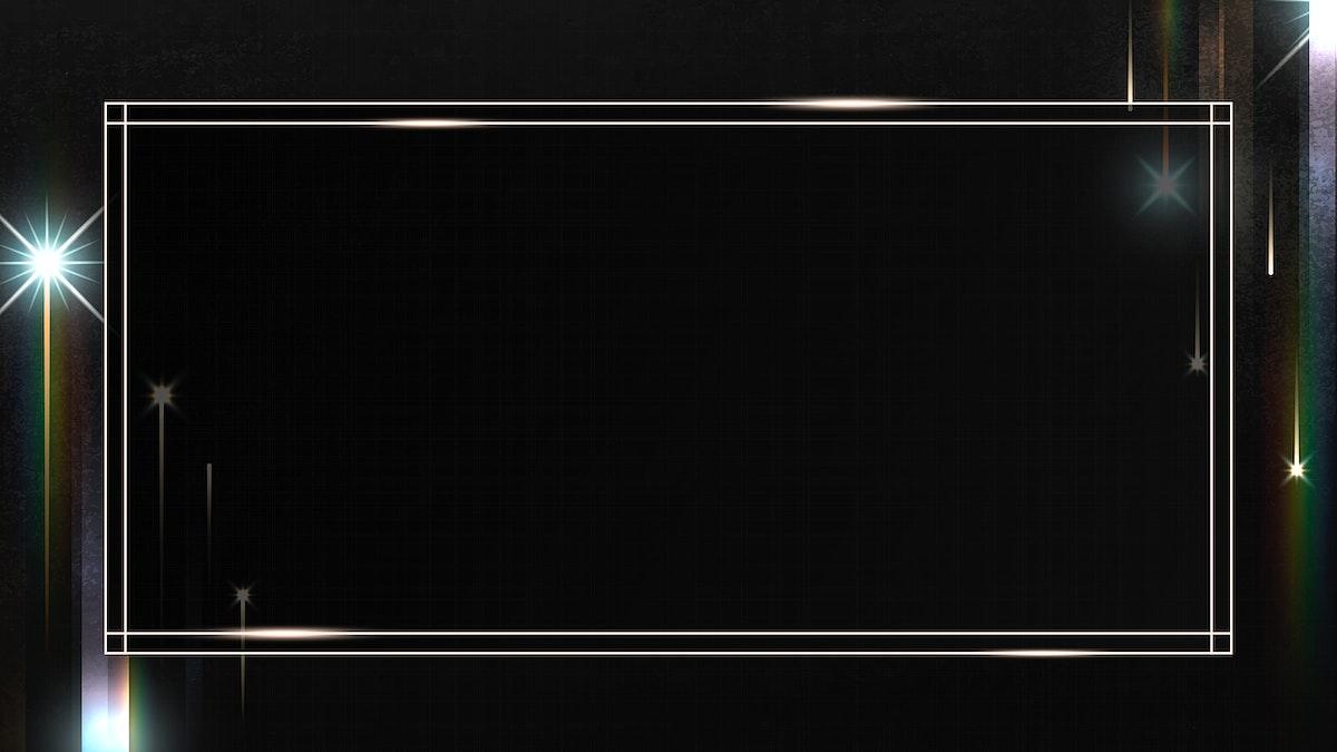 Rectangle gold frame with sparkle patterned on black background illustration