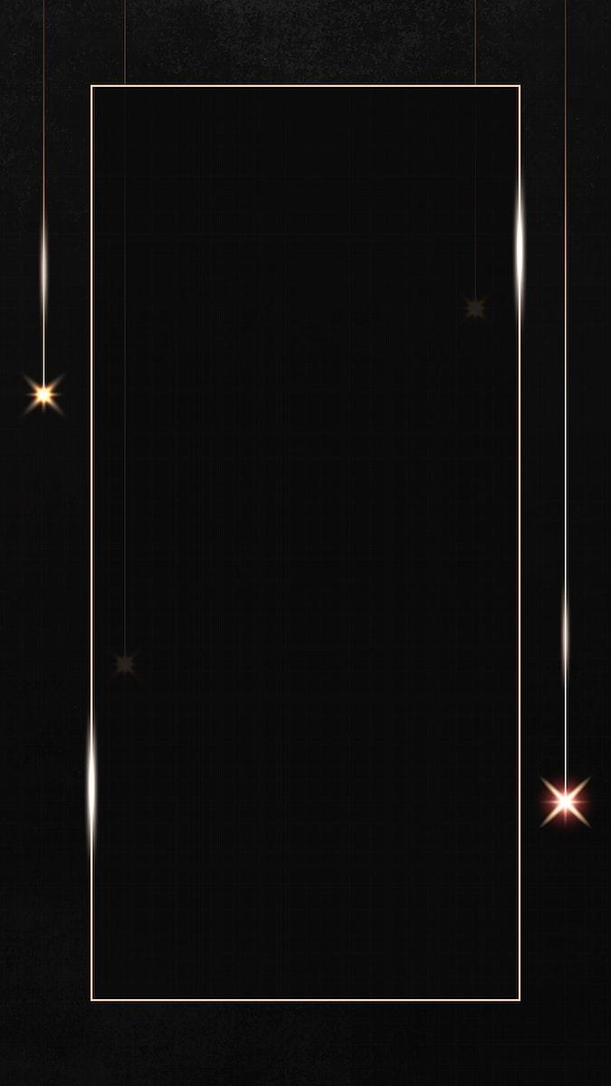 Rectangle gold frame with sparkle patterned on black background vector