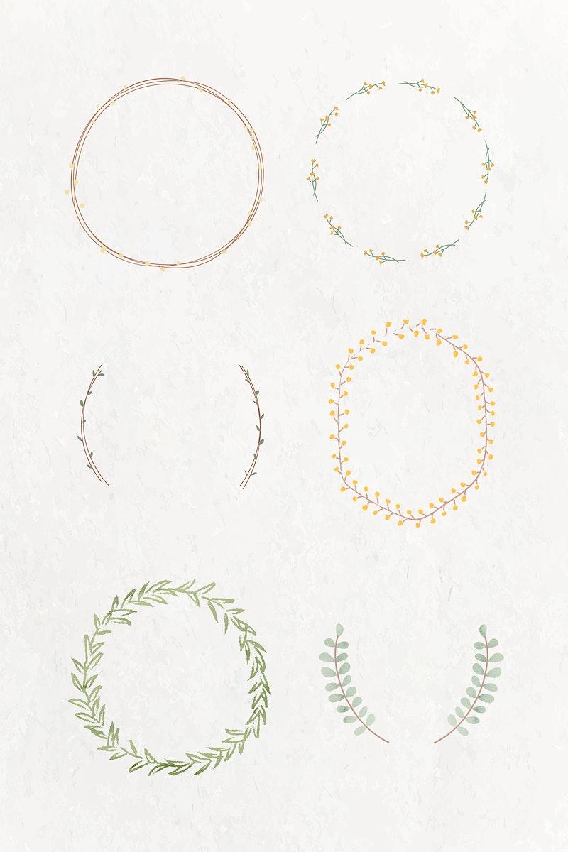 Leafy frame set on beige background illustration
