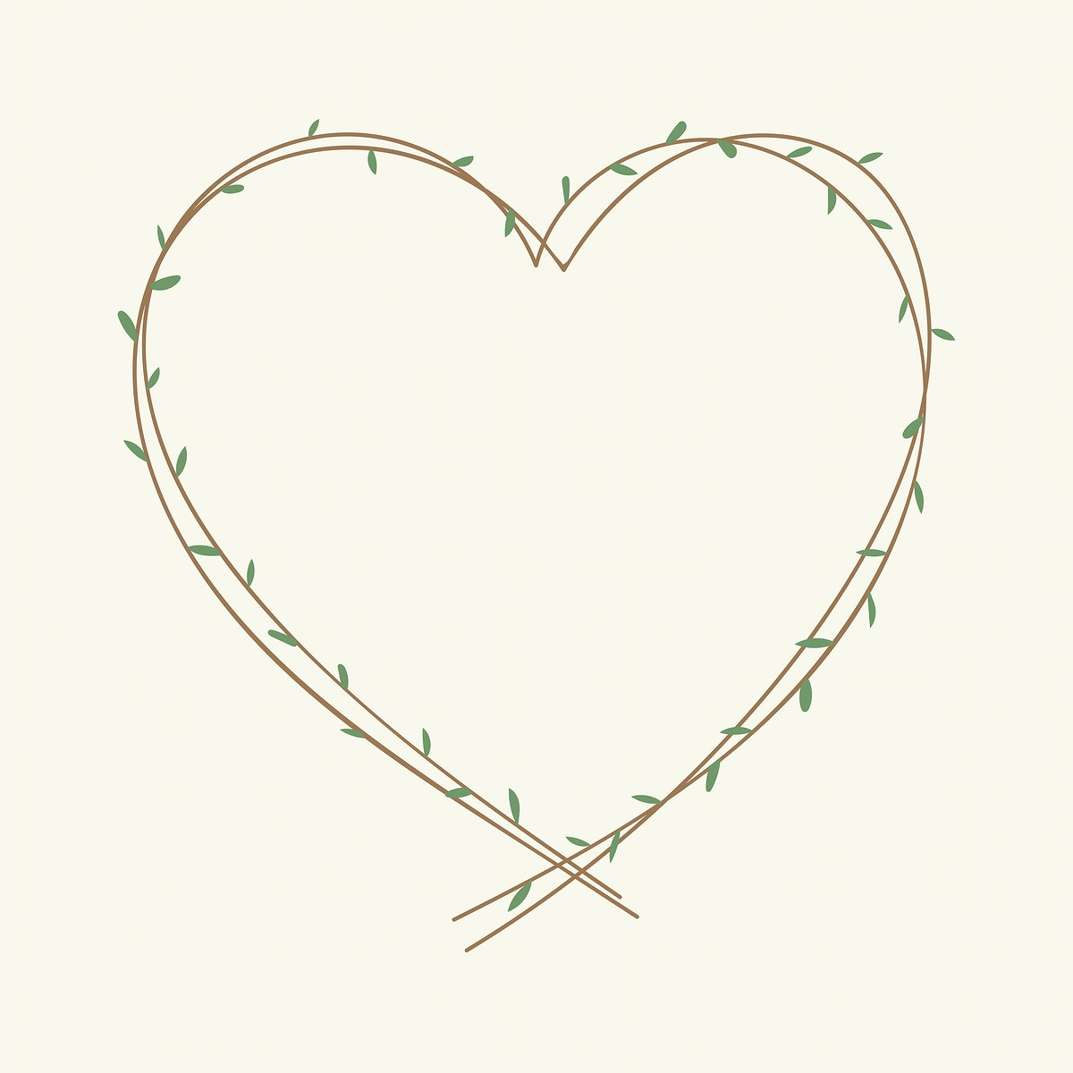 Green hearted wreath element illustration