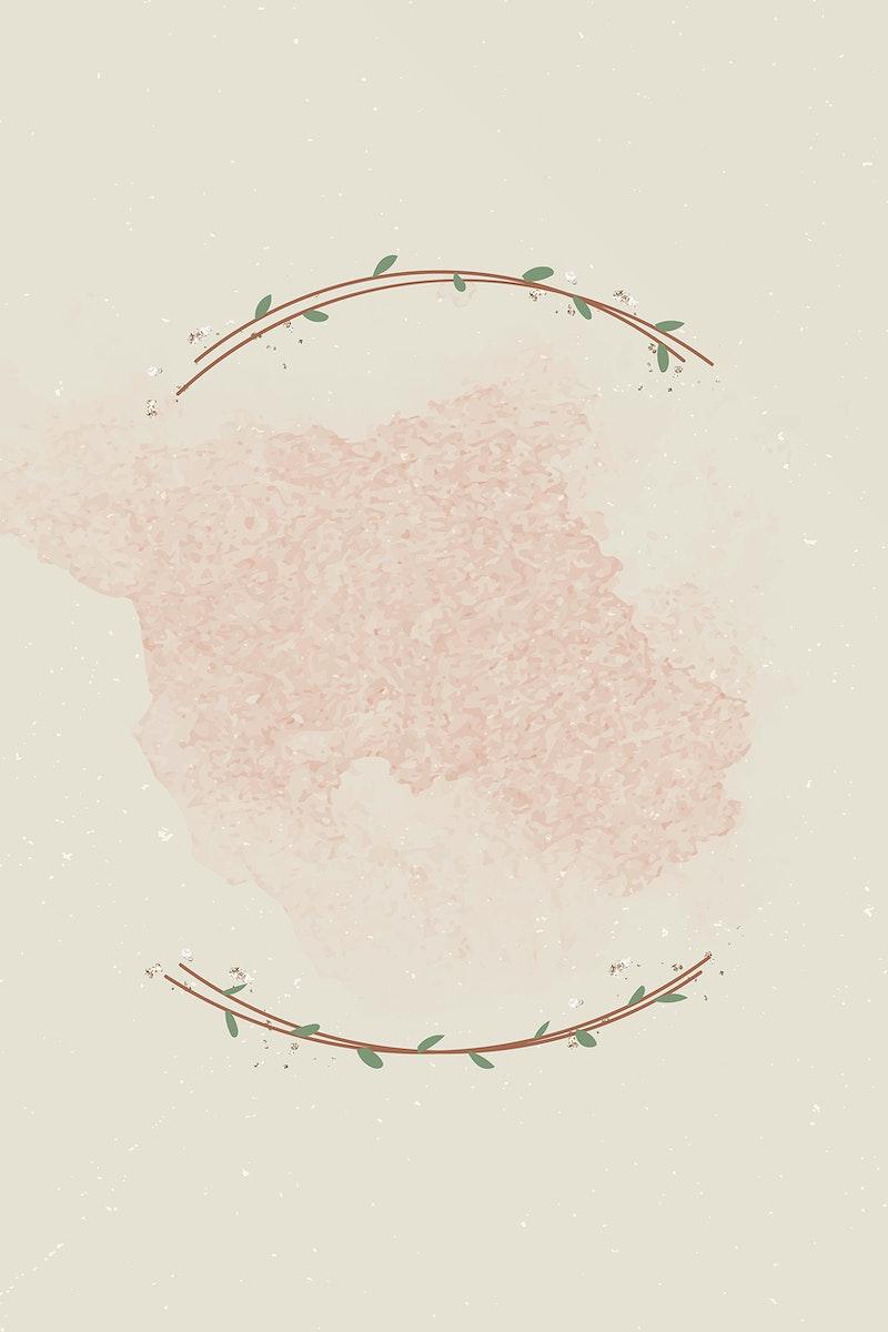 Leafy border on beige background vector