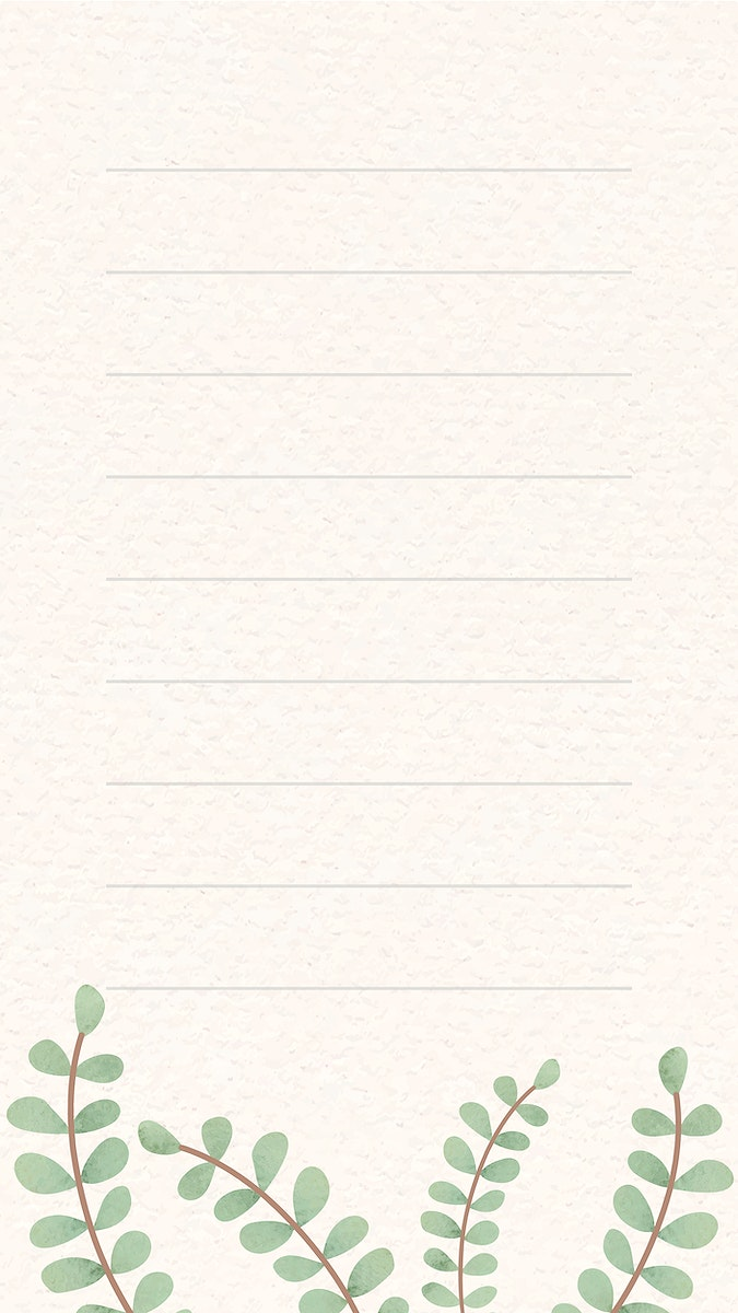 Leafy patterned note mobile phone wallpaper vector