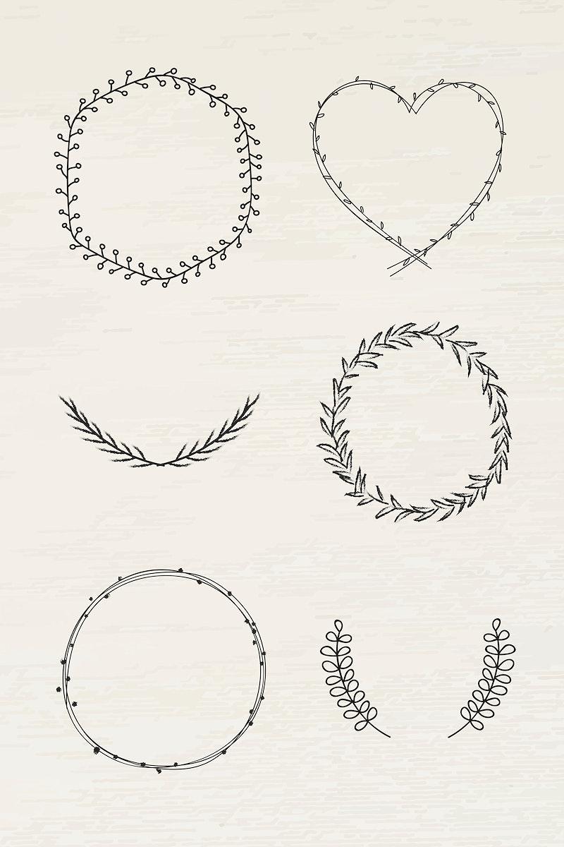 Black leafy frame set illustration