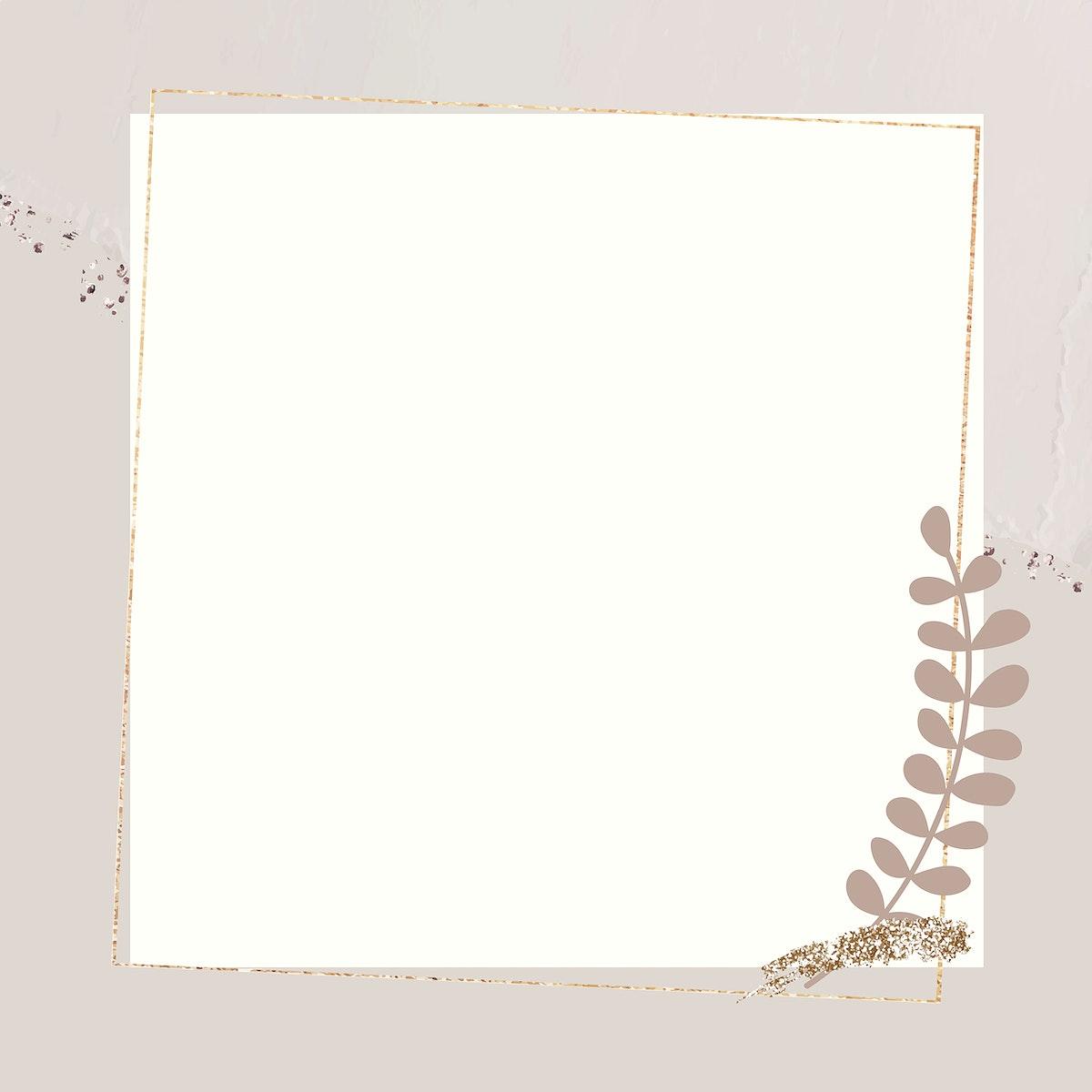 Leafy gold frame on beige background vector