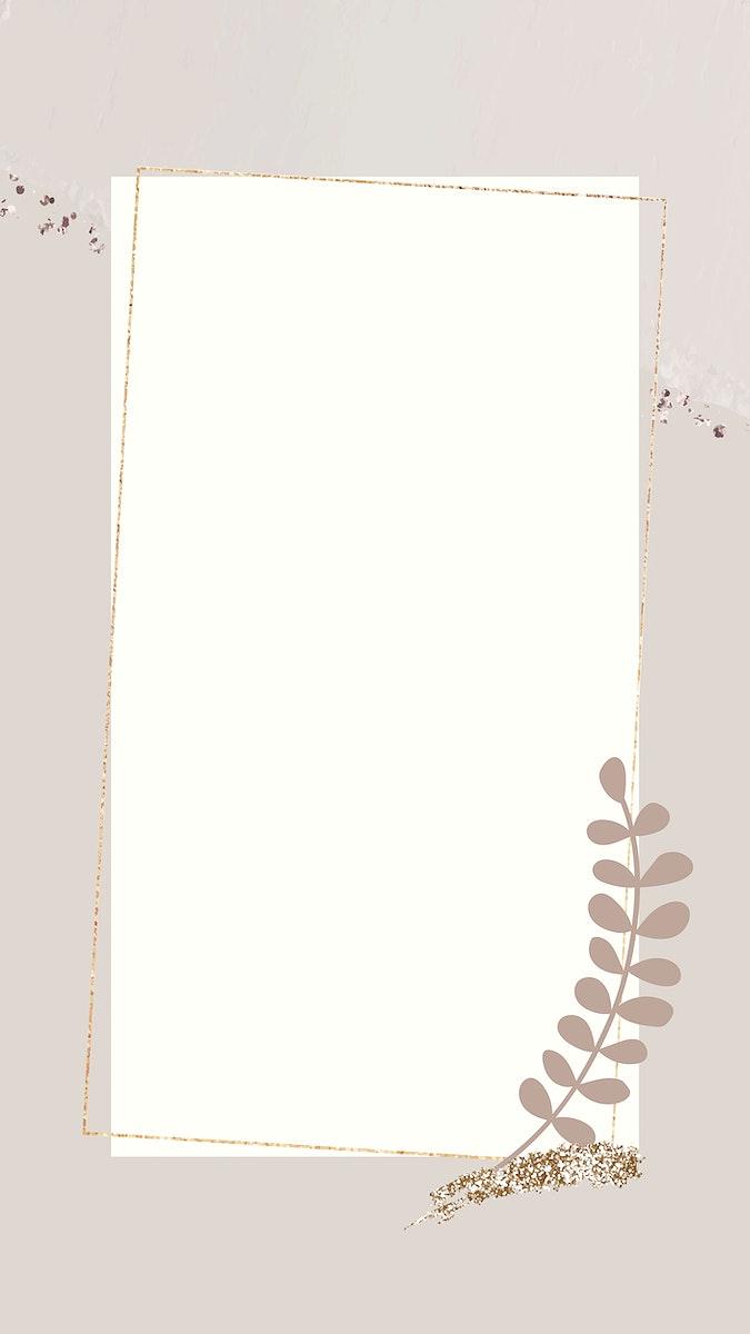Leafy gold frame  mobile phone wallpaper vector