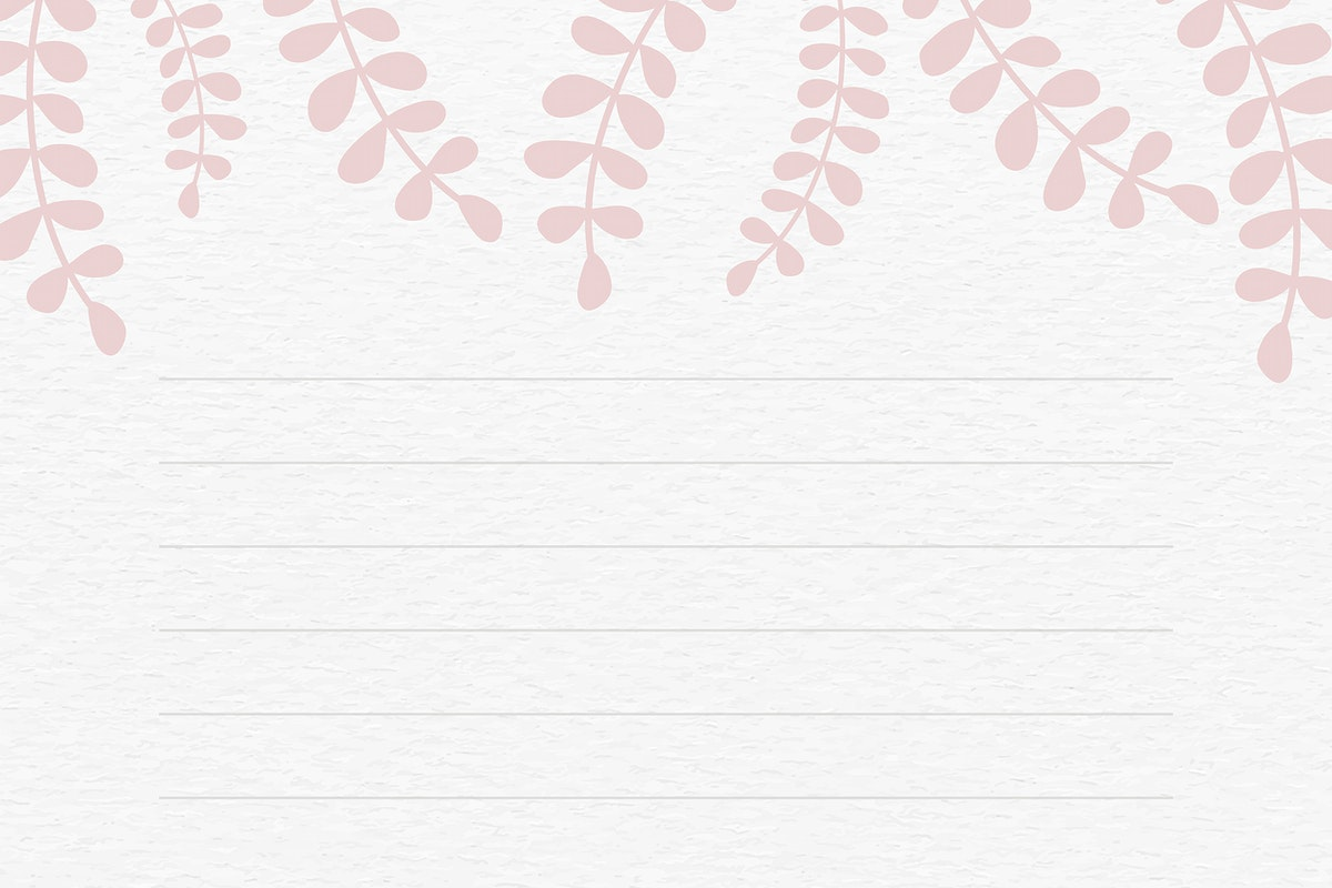 Pink leafy patterned note background vector