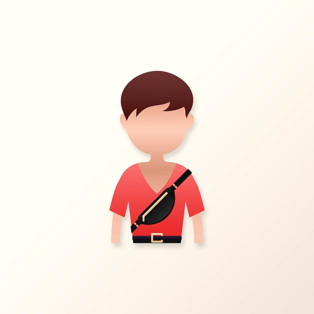 Man with chest bag avatar illustration