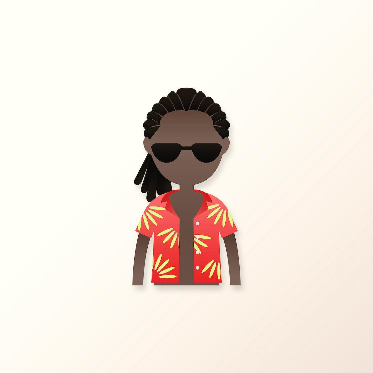 Black man in dreadlocks avatar vector
