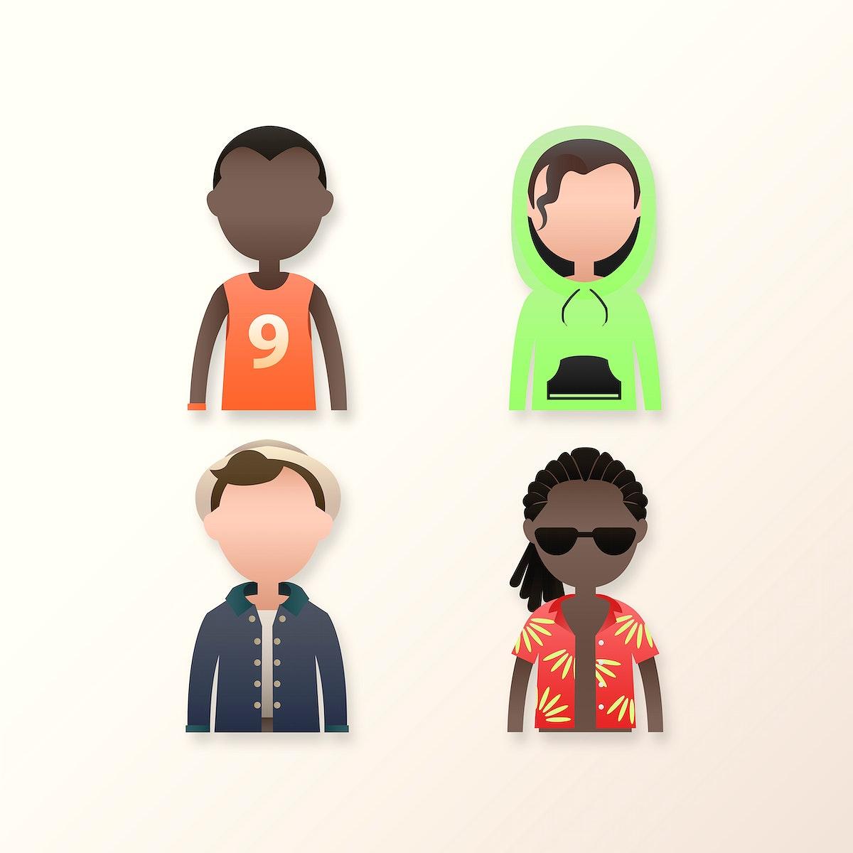 Set of diverse men avatar character vector