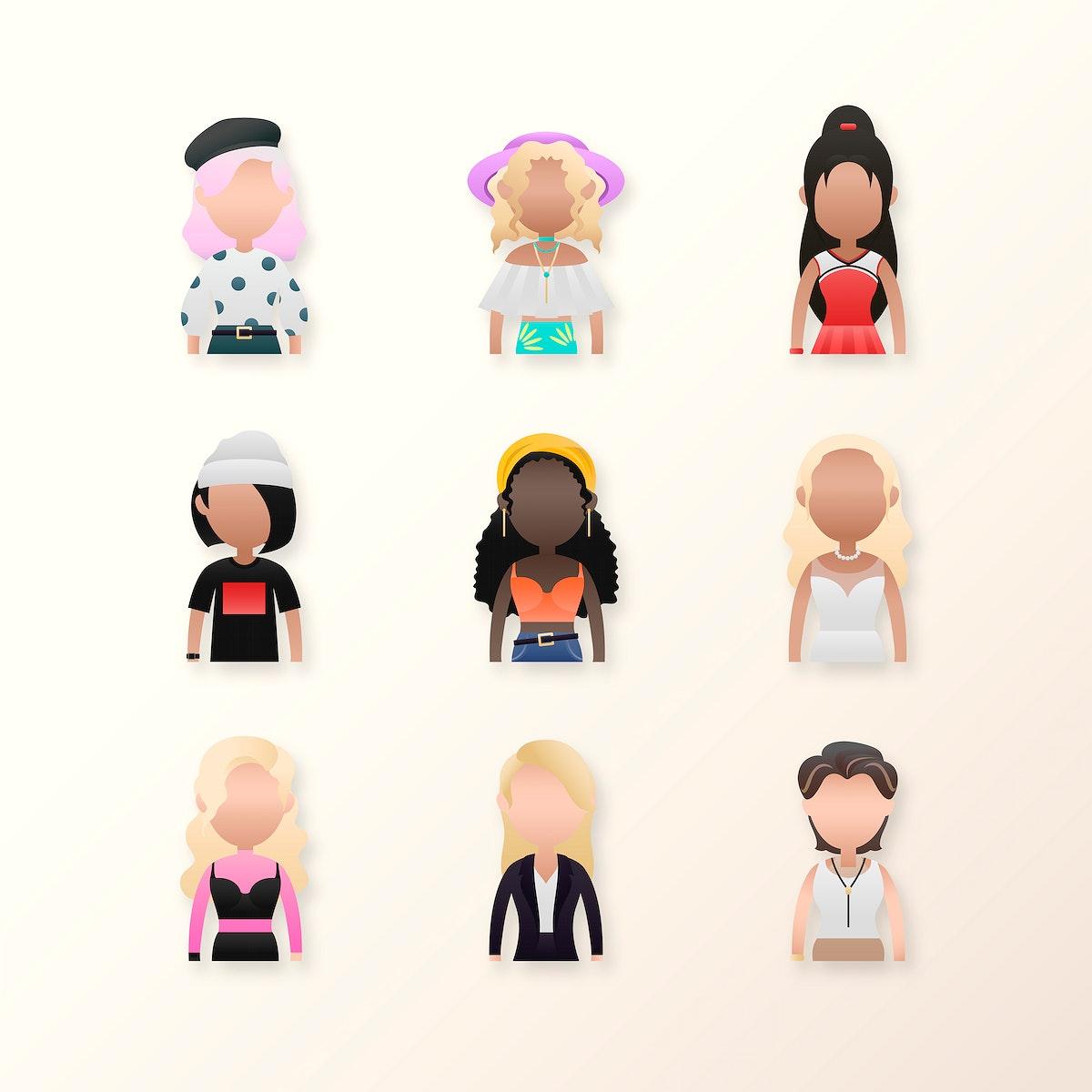 Set of diverse women avatar character illustration