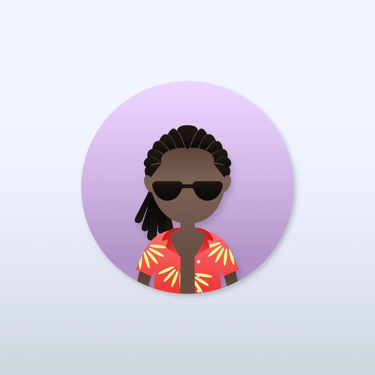 Black man in twist hairstyle avatar vector