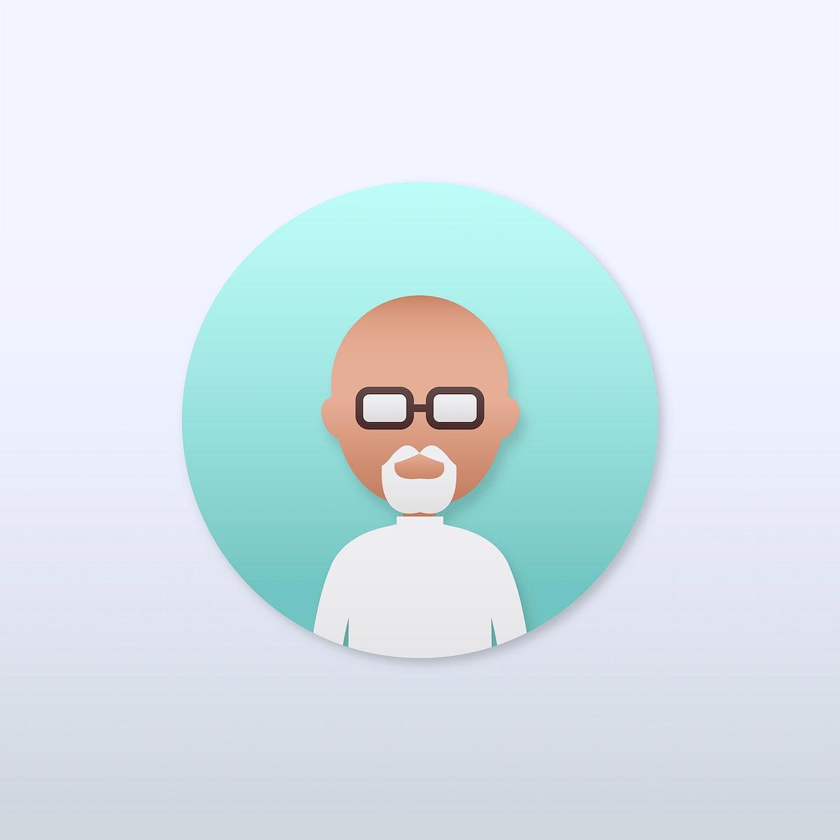 Senior man with white beard avatar illustration