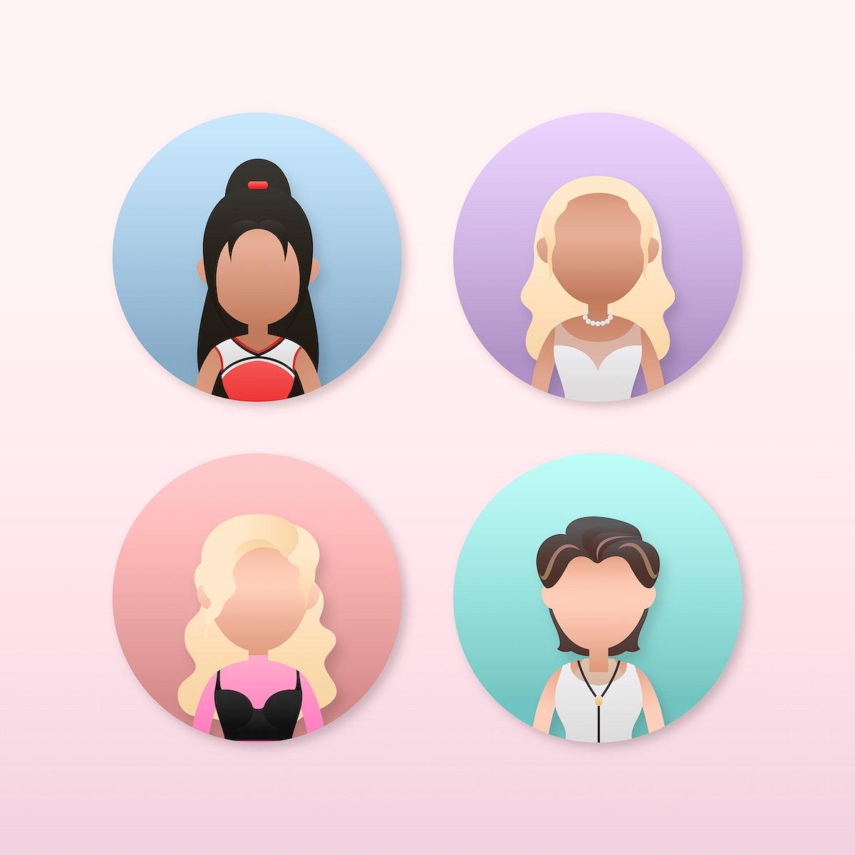 Set of diverse women avatar character vector