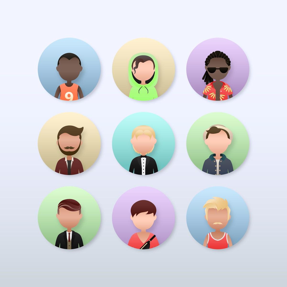 Set of diverse men avatar character illustration