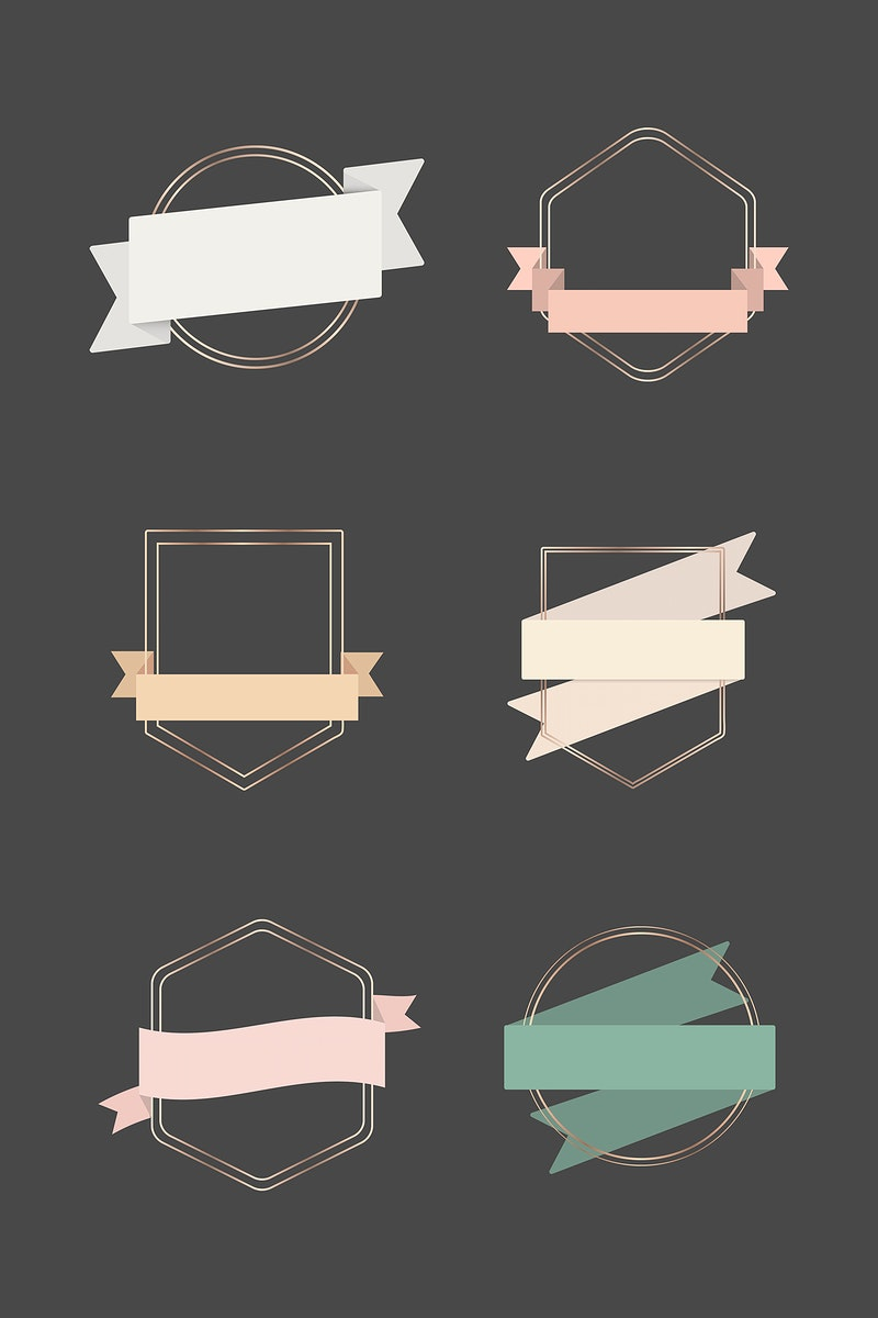 Gold frames with ribbon banners set illustration