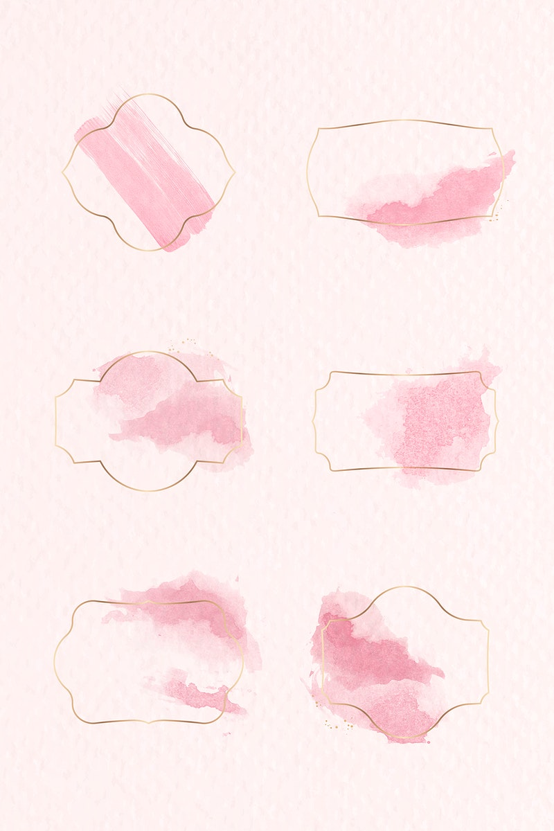 Gold badge with pink watercolor paint set vector