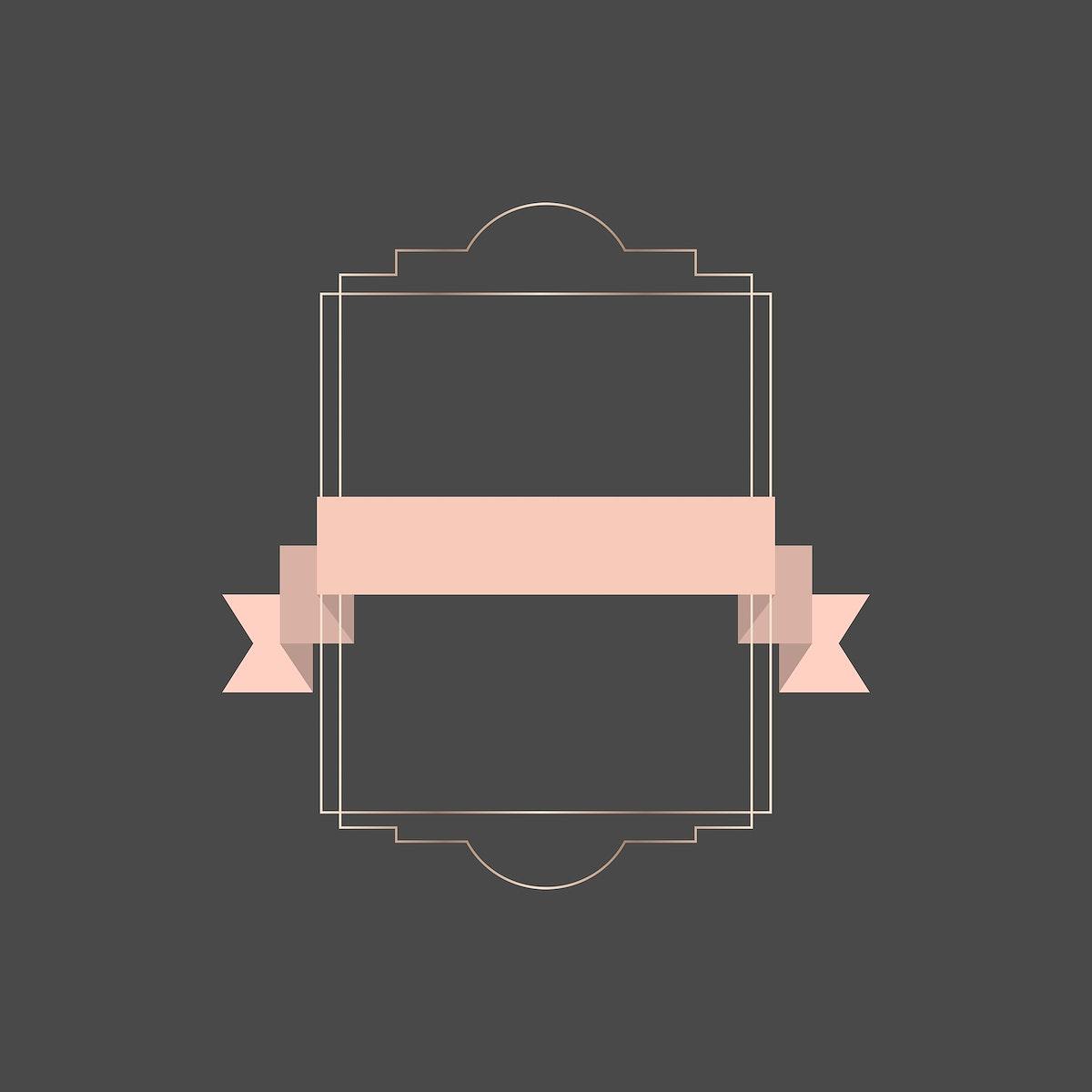 Gold frame with pink ribbon banner illustration