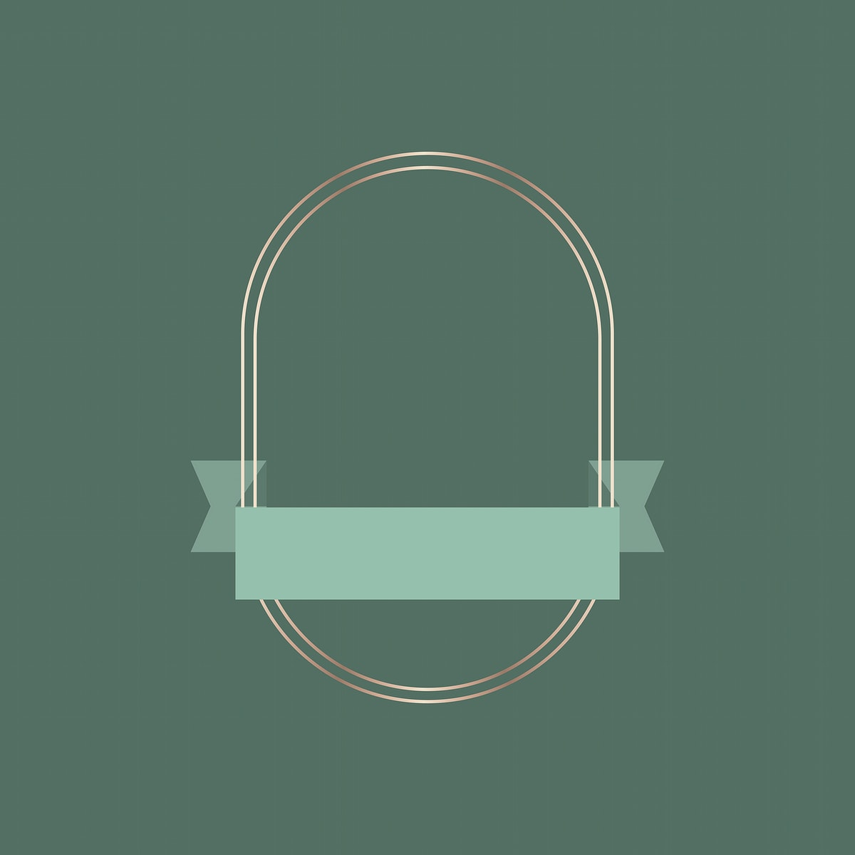 Gold frame with green ribbon banner vector