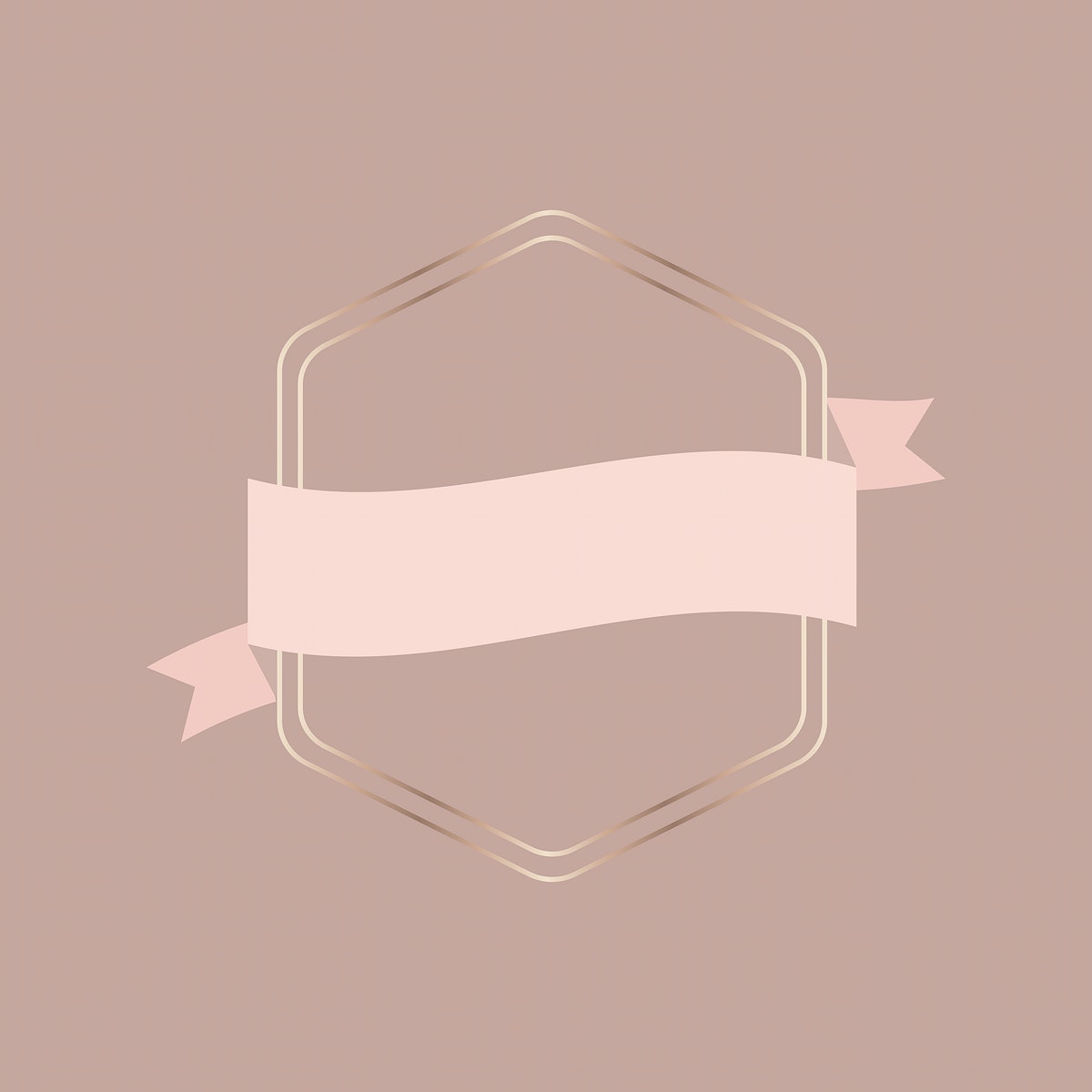 Gold frame with pink gold ribbon banner illustration