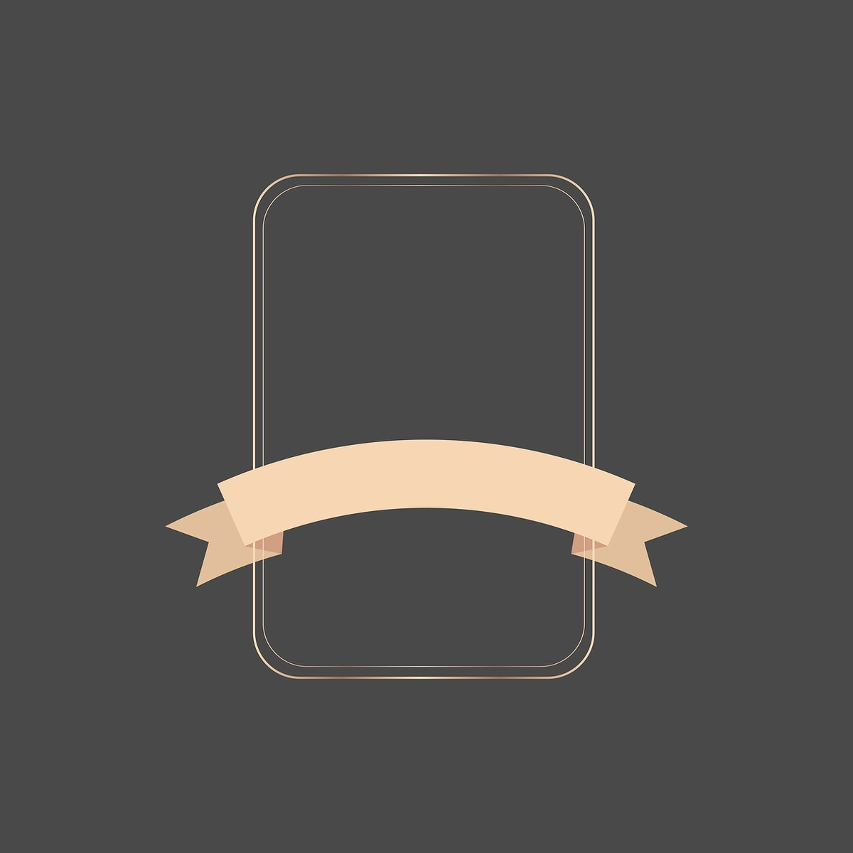 Gold frame with bronze ribbon banner vector