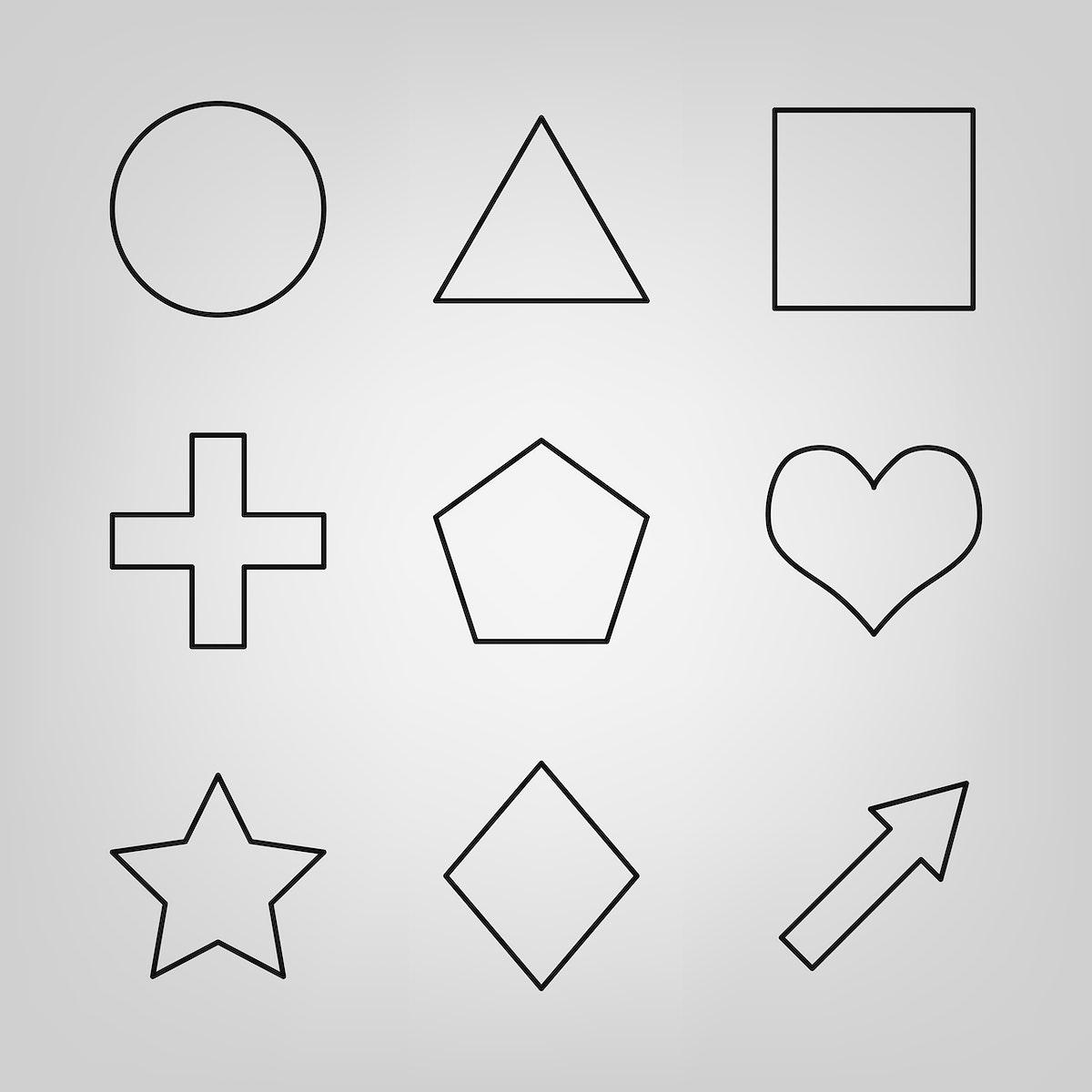 Stroke geometric shapes set vector