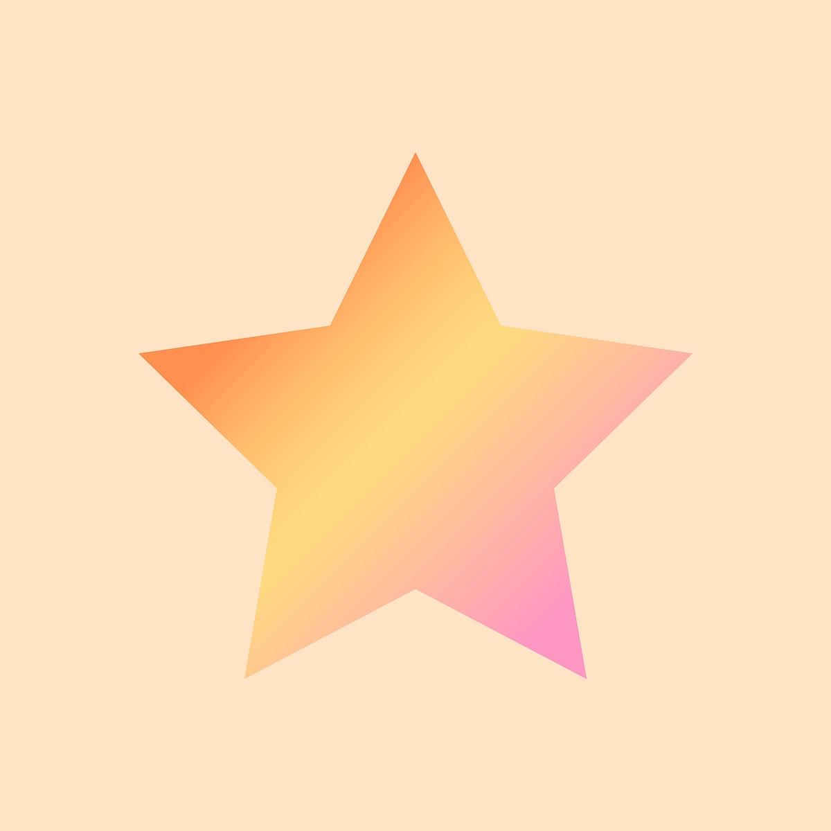 Orange gradient star geometric shape vector
