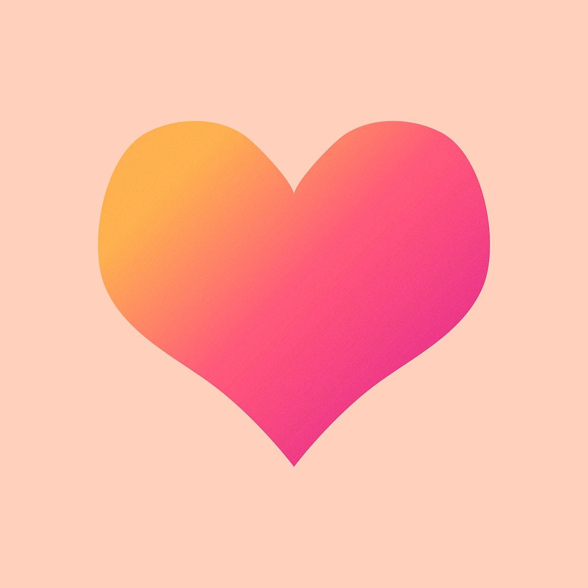 Pink gradient heart geometric shape illustration