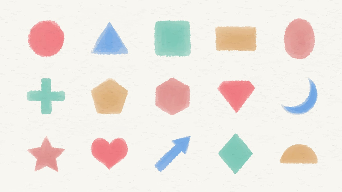 Colorful watercolor geometric shapes set vector