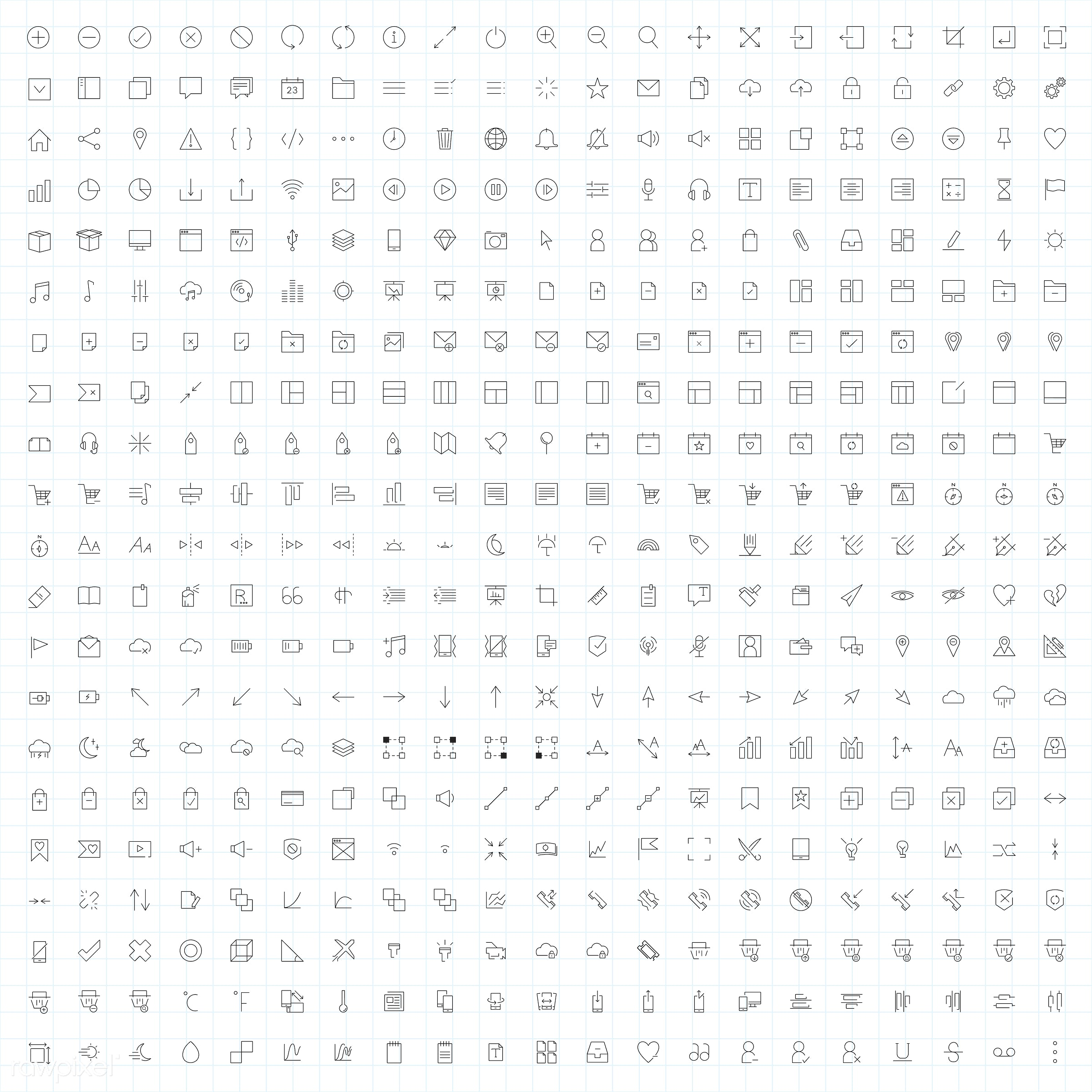 Set of computer icon vectors - icon, vector, computer, app, business, collection, digital, email, graphic, illustration,...