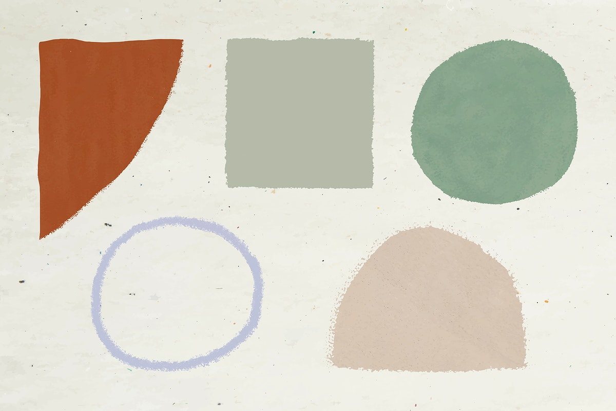Hand drawn geometric shape watercolor element set illustration