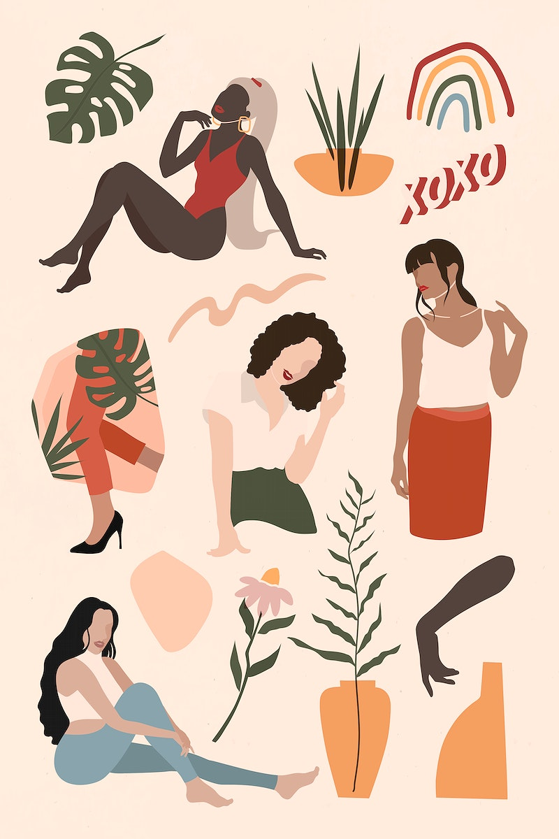 Female social media influencers collection illustration