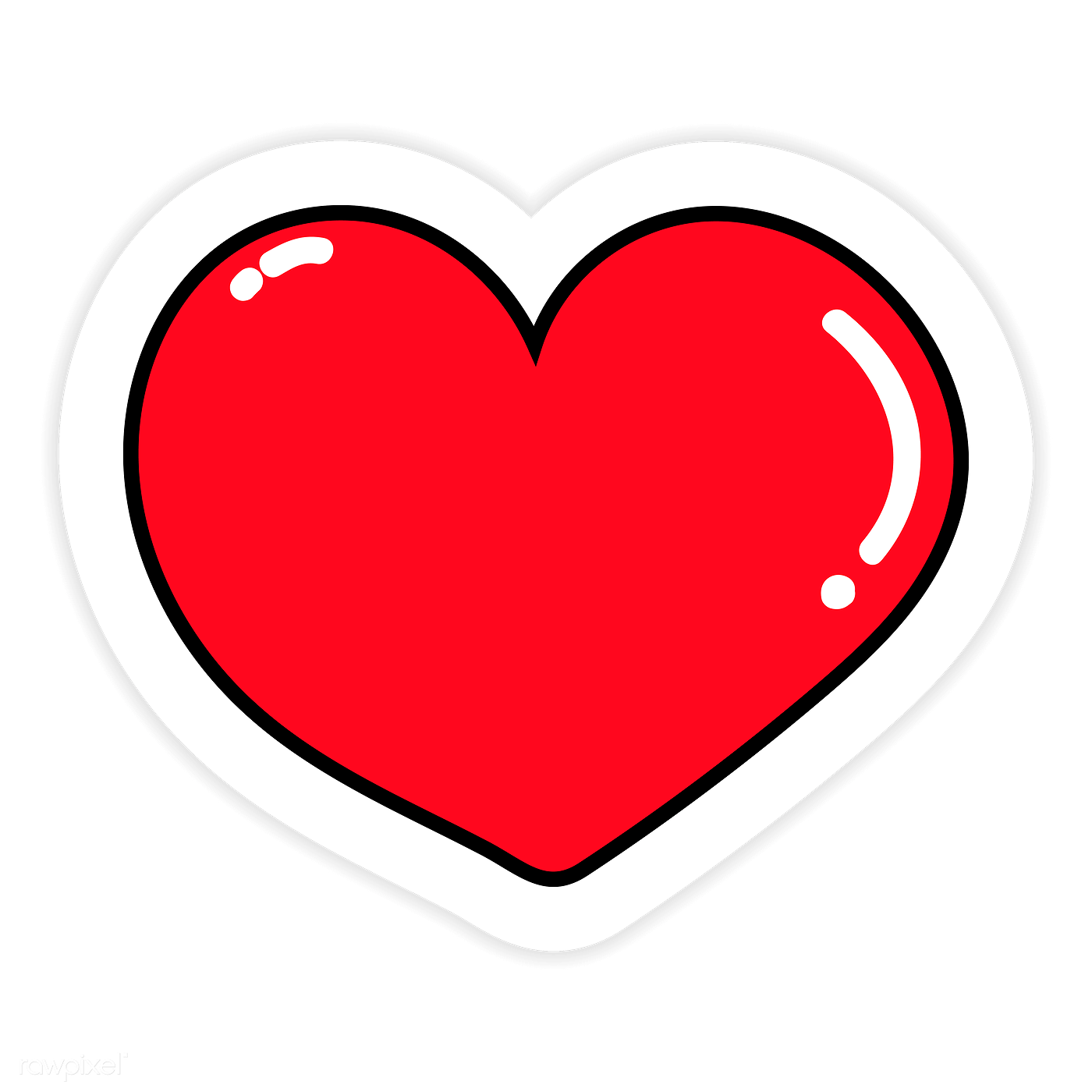 Red heart sticker png | Royalty free transparent png - 2034501