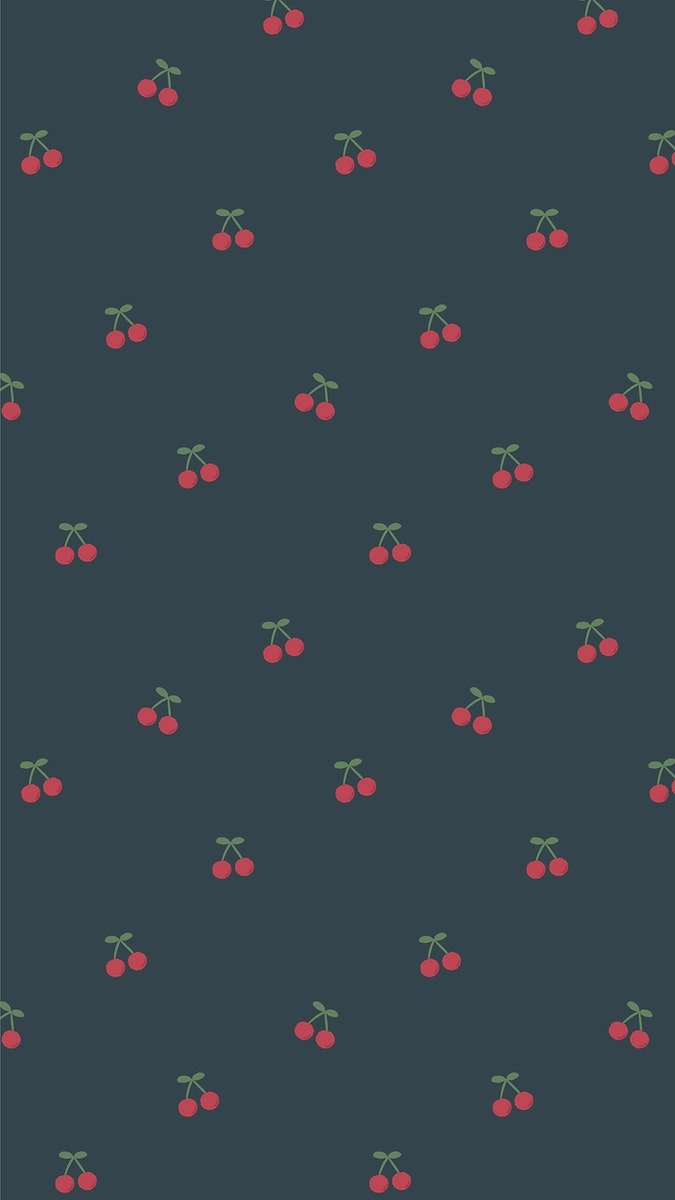 Red hand drawn cherry pattern on blue mobile phone wallpaper illustration