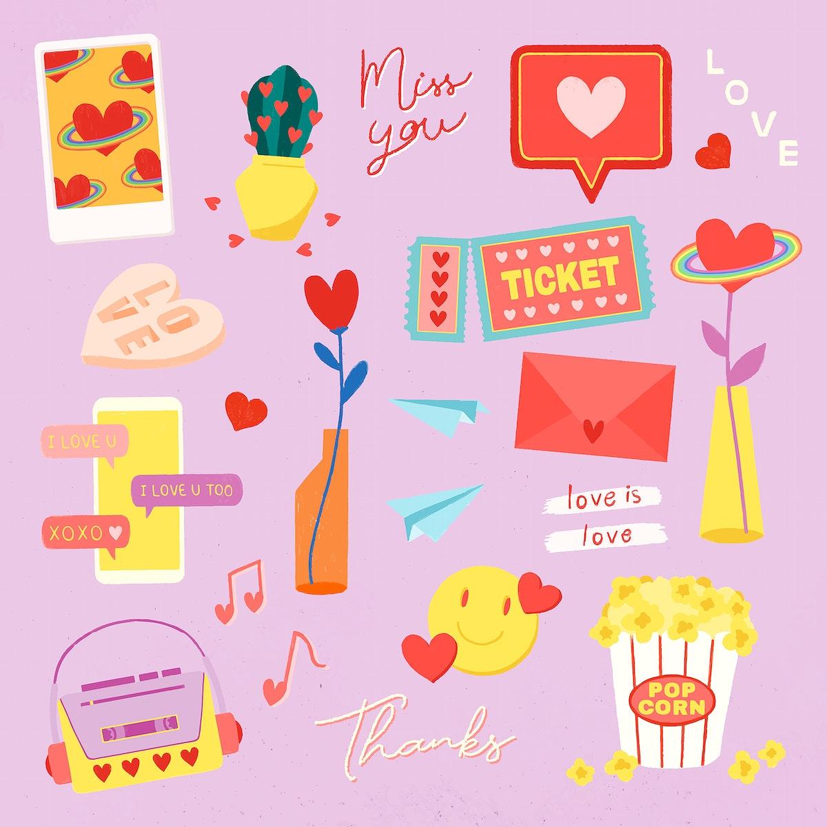 Set of love icon vector