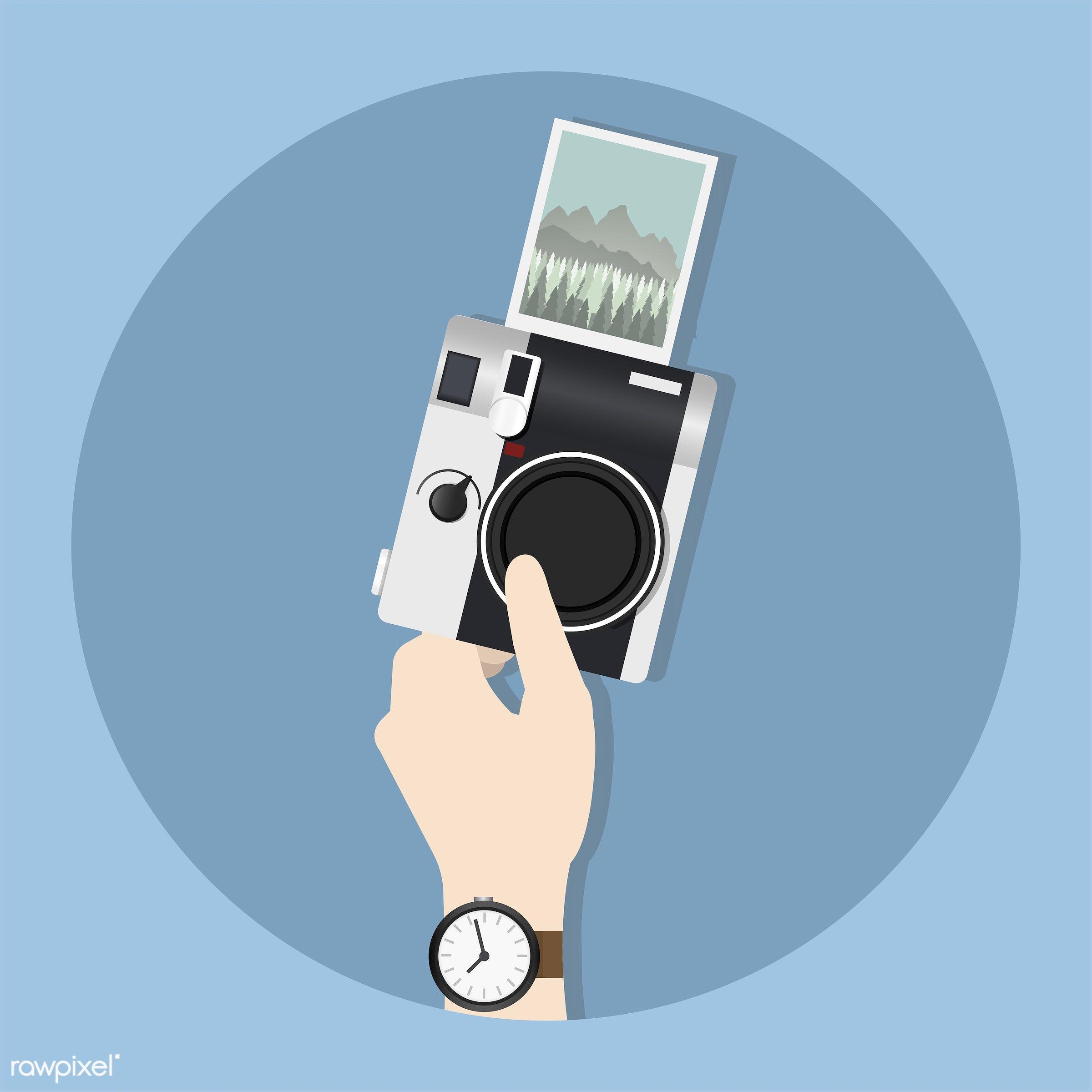 Illustration of hand holding camera - arm, camera, device, digital, electronics, energy, grabbing, graphic, guy, hand,...