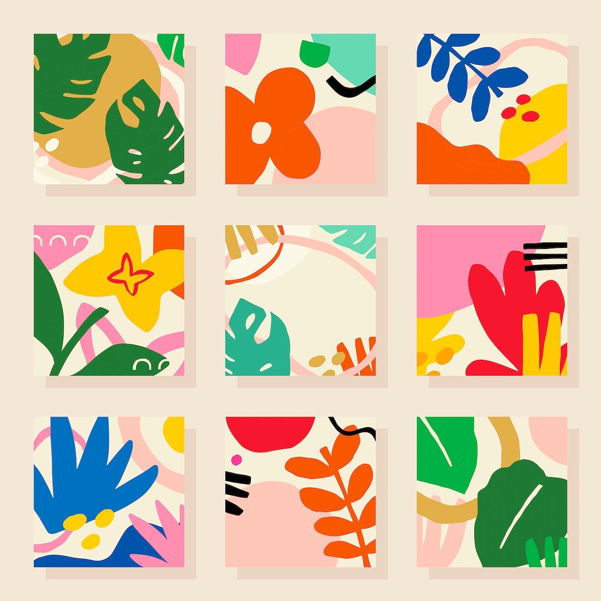 Tropical patterned tiles design element set vector