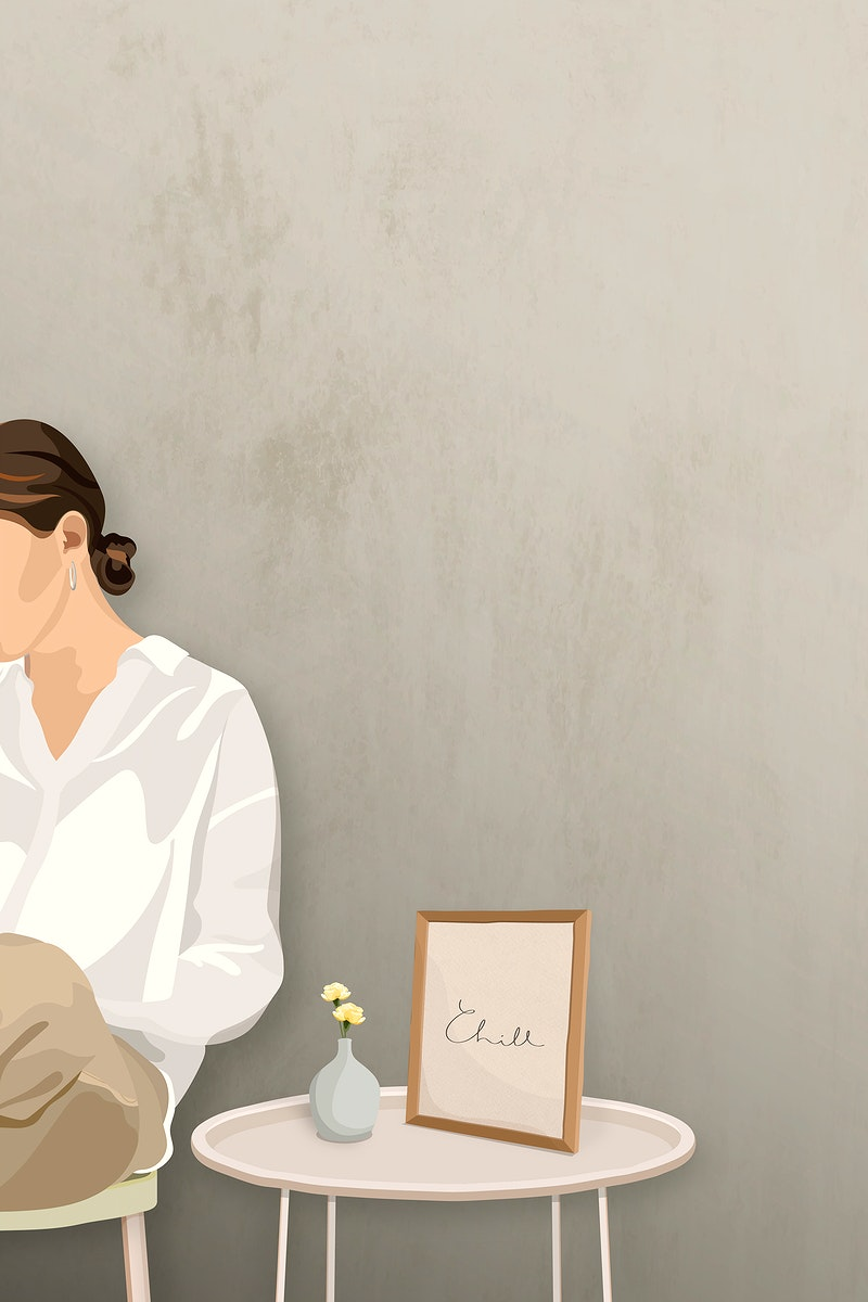 Woman sitting on a stool by a photo frame vector