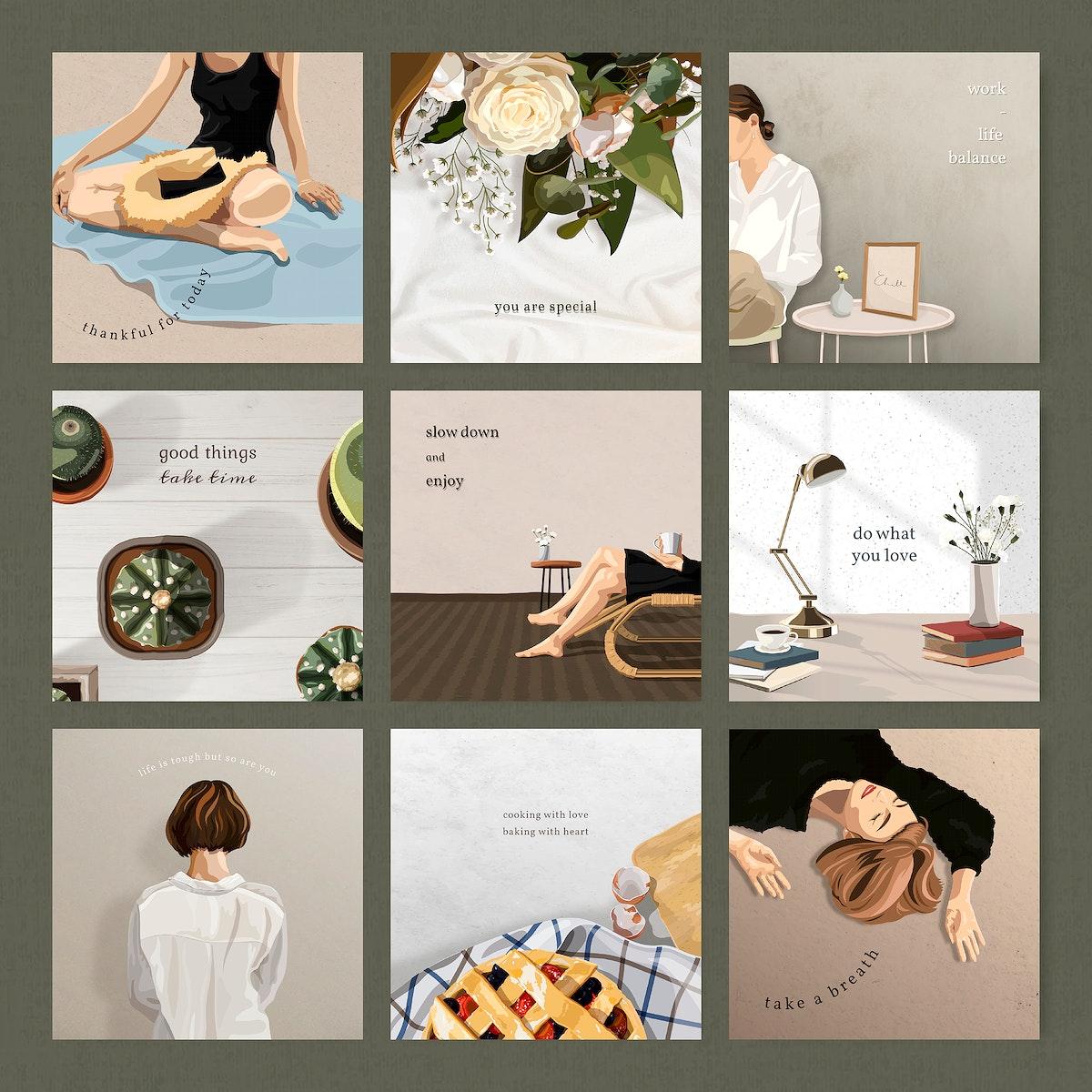 Feminine and minimal Instagram post template vector set