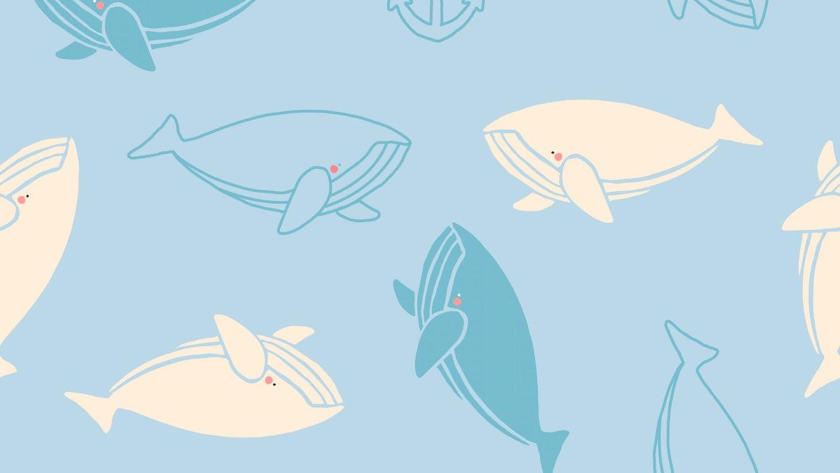 Hand drawn underwater animals seamless pattern vector