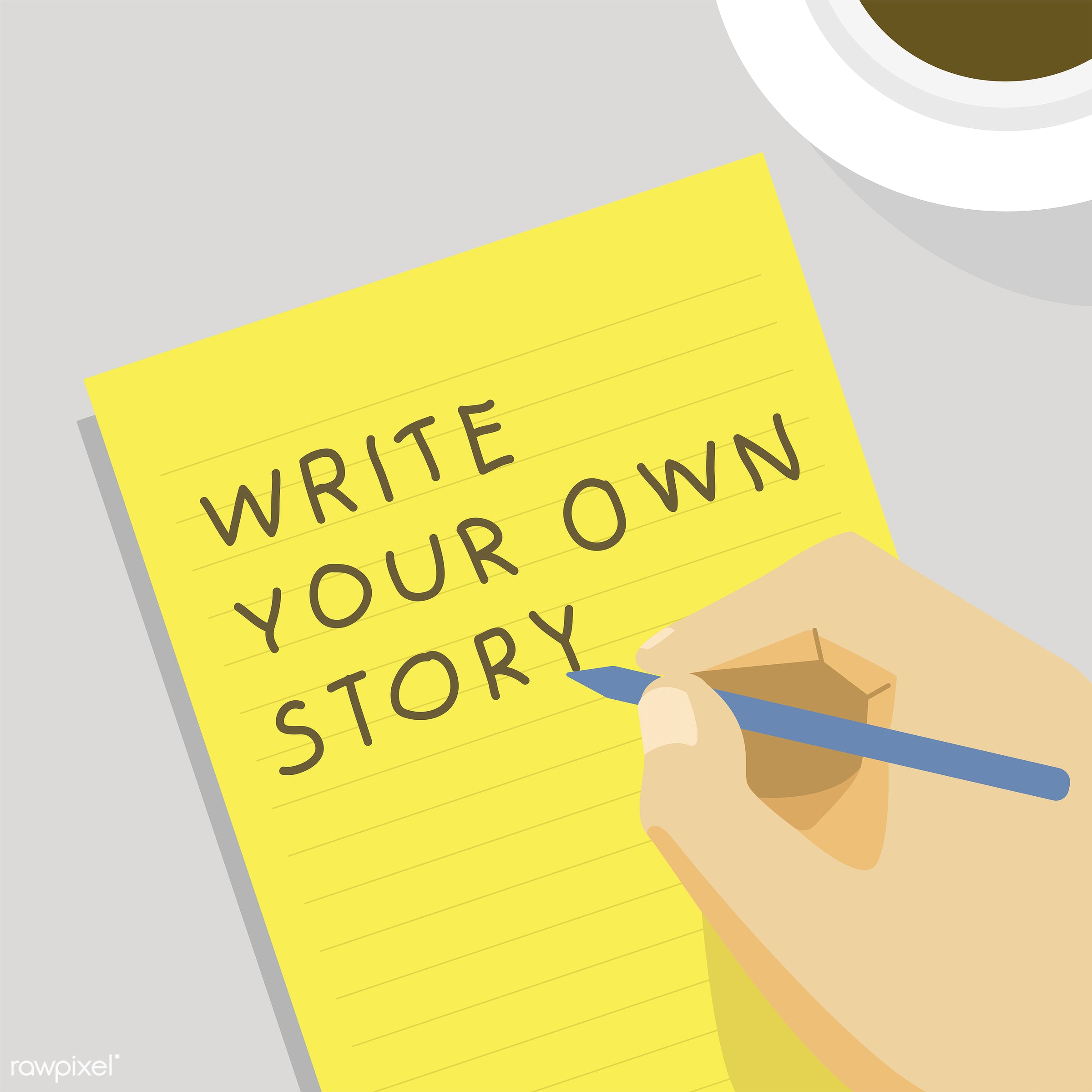 'Write your own story' illustration - vector, write your own story, diary, jot, jotting, journal, note, notebook, notepad,...