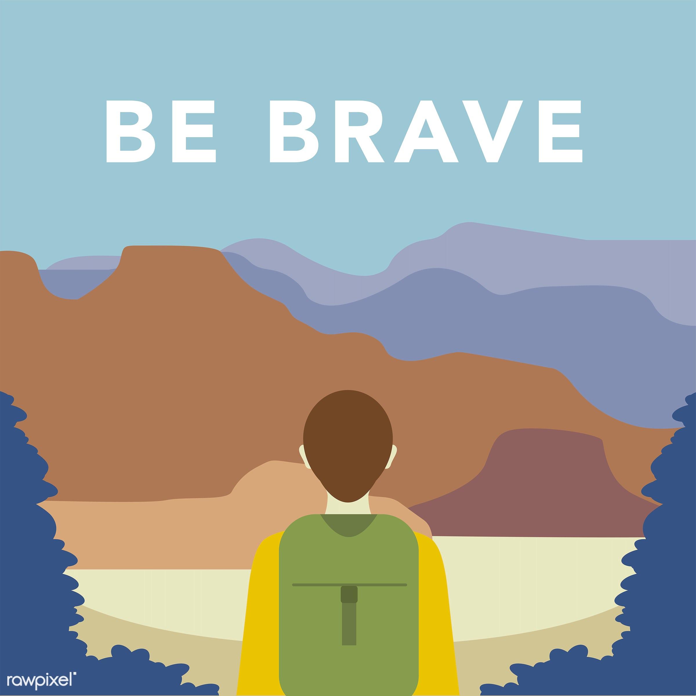 An explorer illustration  - vector, illustration, adventure, alone, be brave, blue, brave, expedition, explore, explorer,...