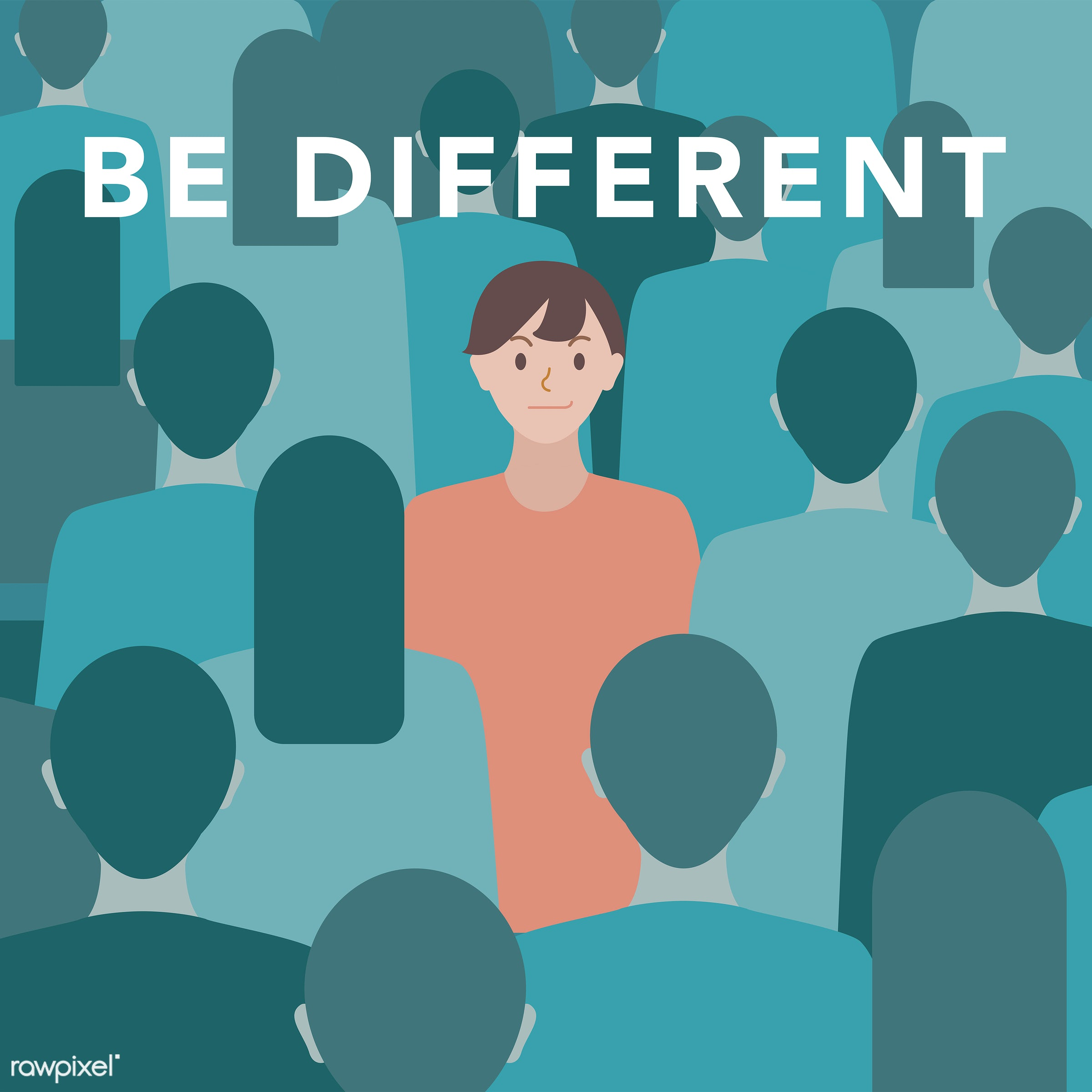 'Be different' illustration - vector, be different, different, human, journey, man, people, quote, self-esteem, green, crowd...