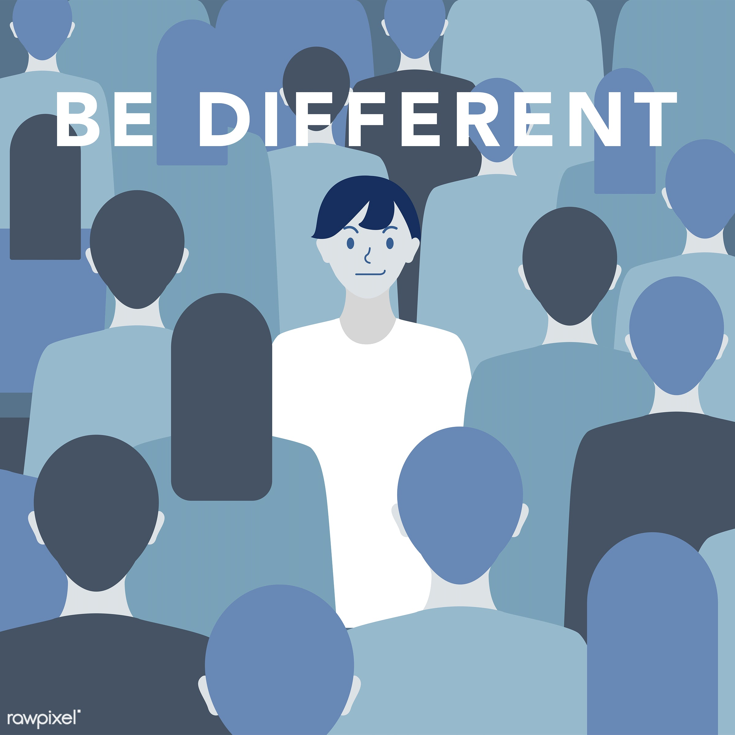 'Be different' illustration - be different, different, people, human, man, vector, quote, journey, self-esteem, solo, alone...