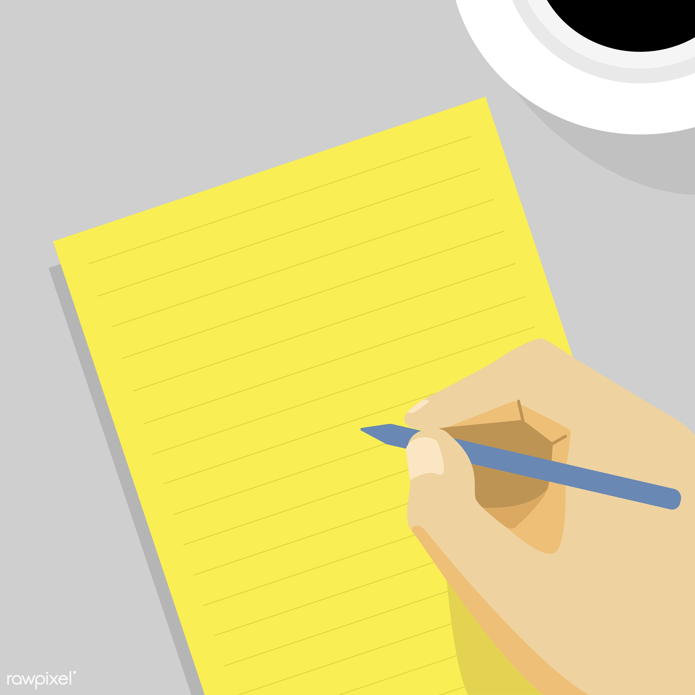 Writing concept - vector, diary, jot, jotting, journal, note, notebook, notepad, record, recording, story, write, writing,...
