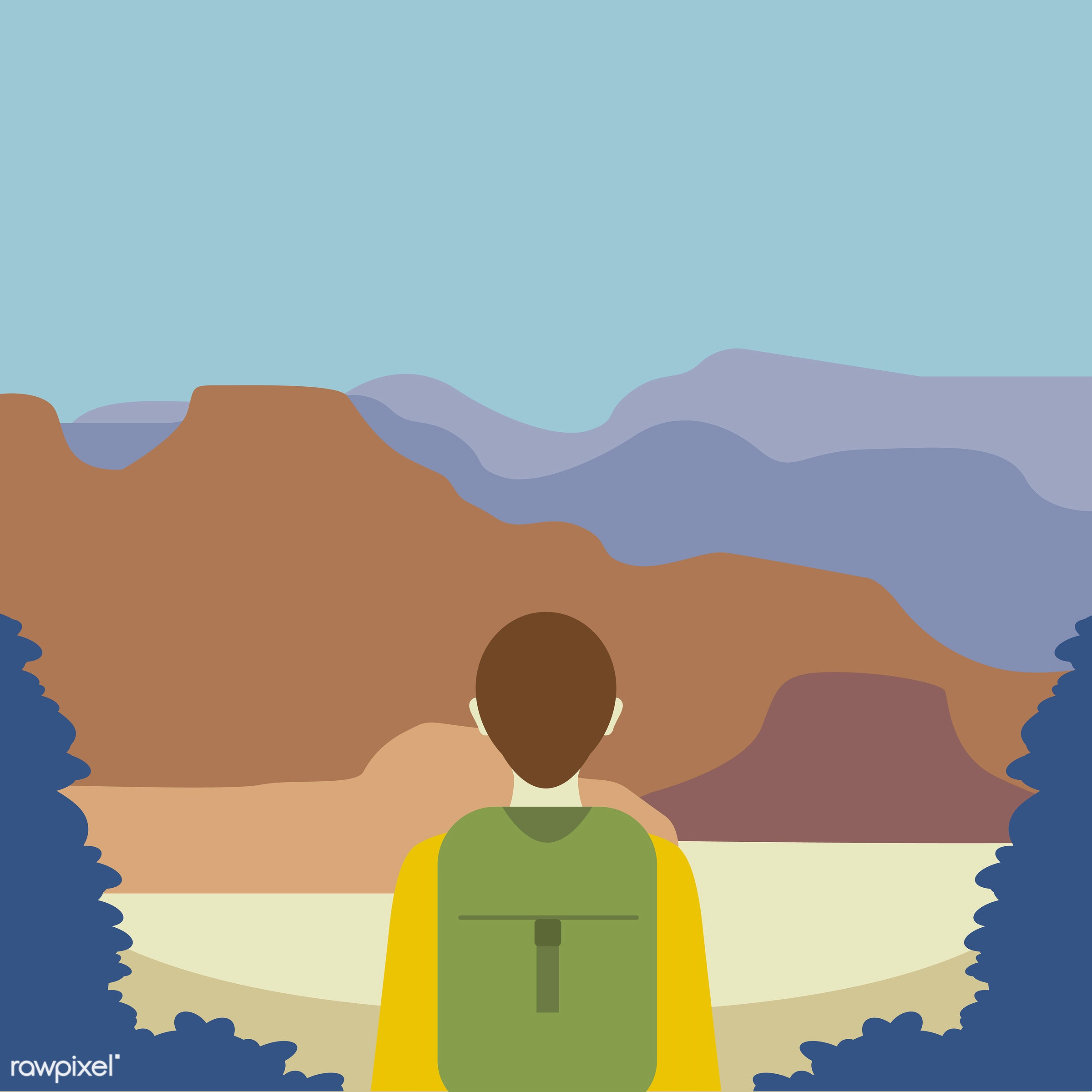 An explorer illustration  - vector, illustration, adventure, alone, be brave, blue, brave, expedition, explore, explorer,...