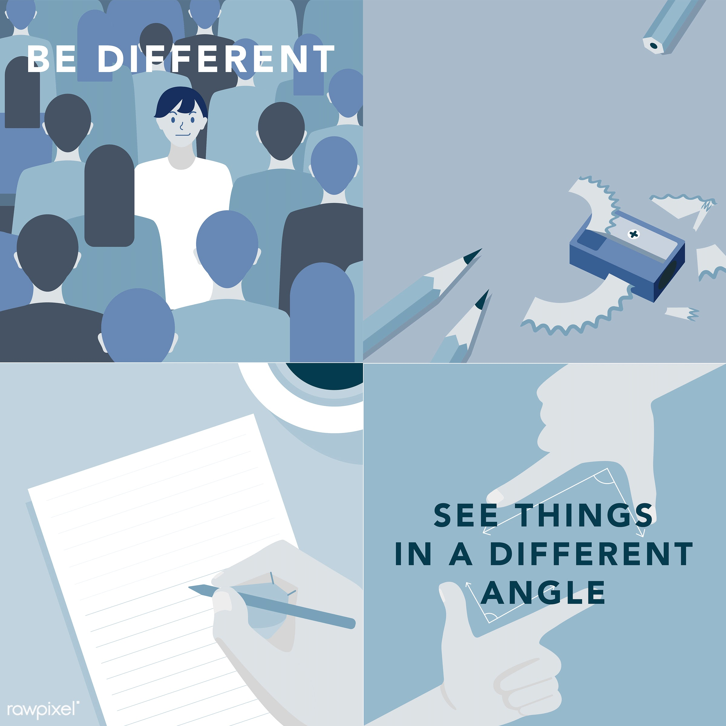 Set of illustrations exploring the concept of human values - vector, see things in a different angle, angles, belief,...
